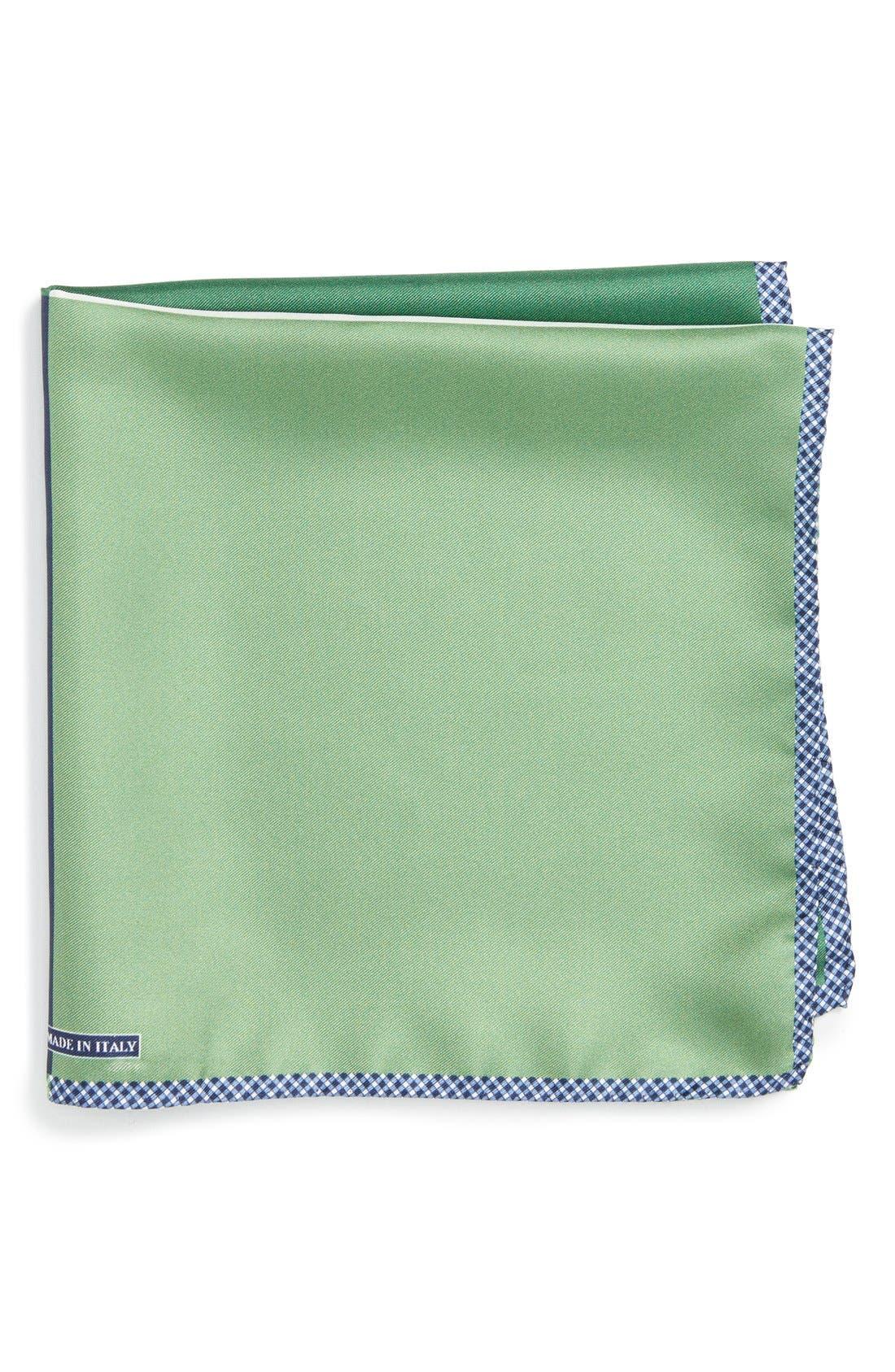 Panel Silk Pocket Square,                             Main thumbnail 1, color,                             GREEN