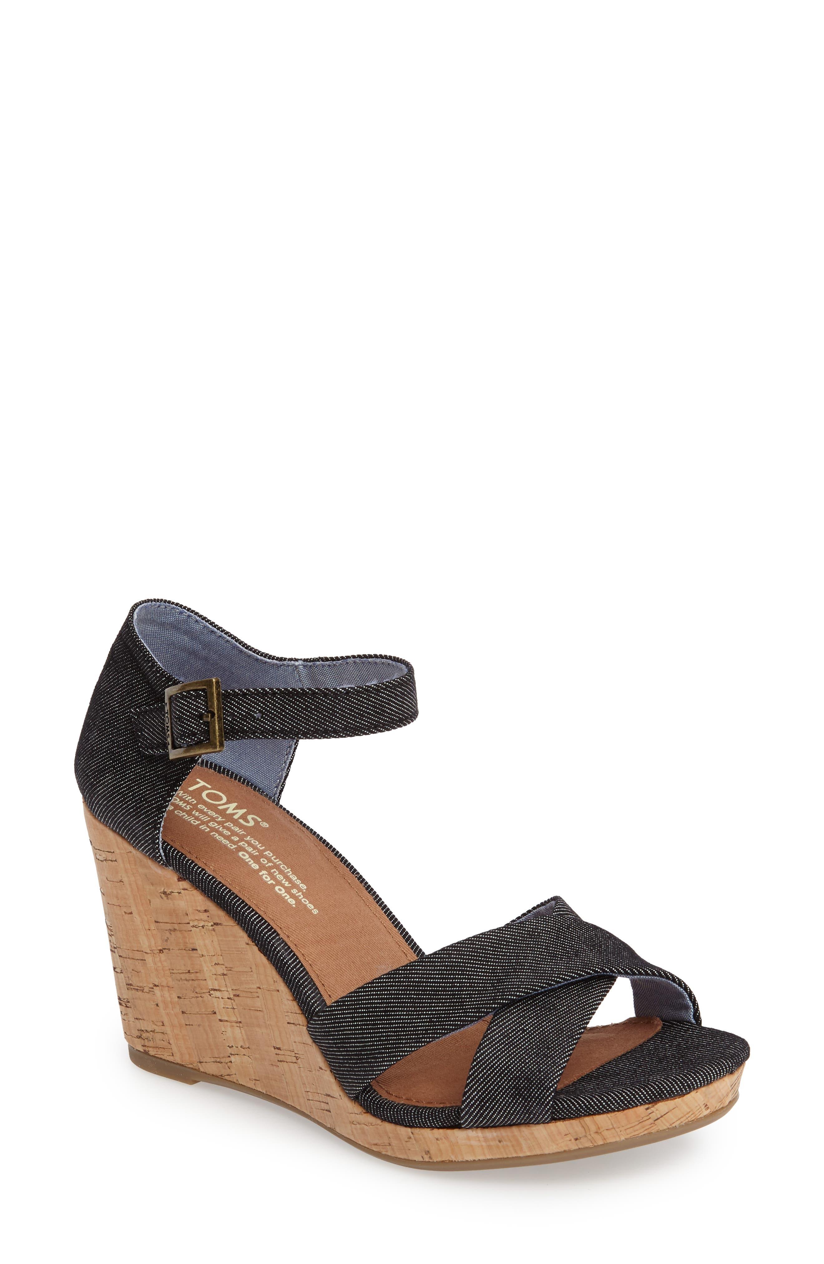 Sienna Wedge Sandal,                             Main thumbnail 1, color,                             001