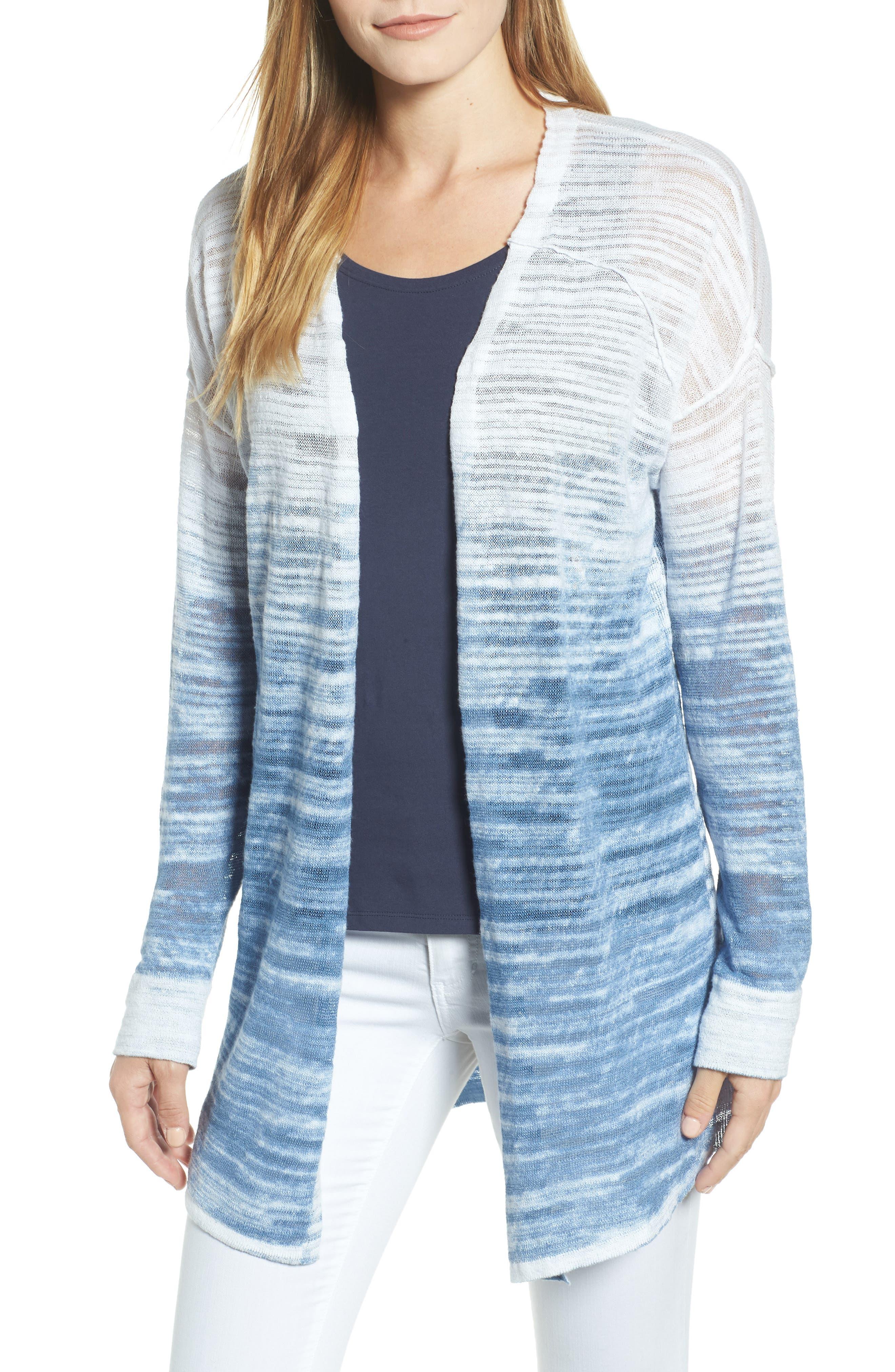 Open Breeze Linen Cotton Ombré Cardigan,                         Main,                         color, 413