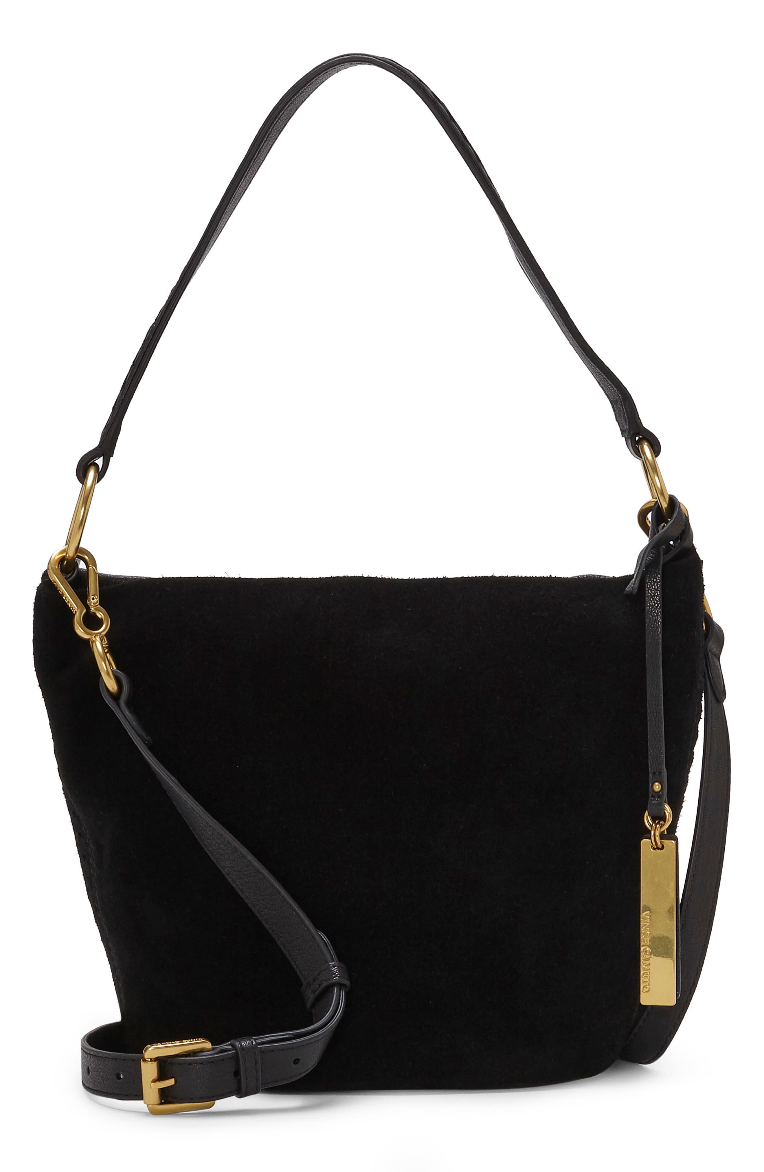 Suza Leather Bucket Bag,                             Main thumbnail 1, color,                             JET BLACK