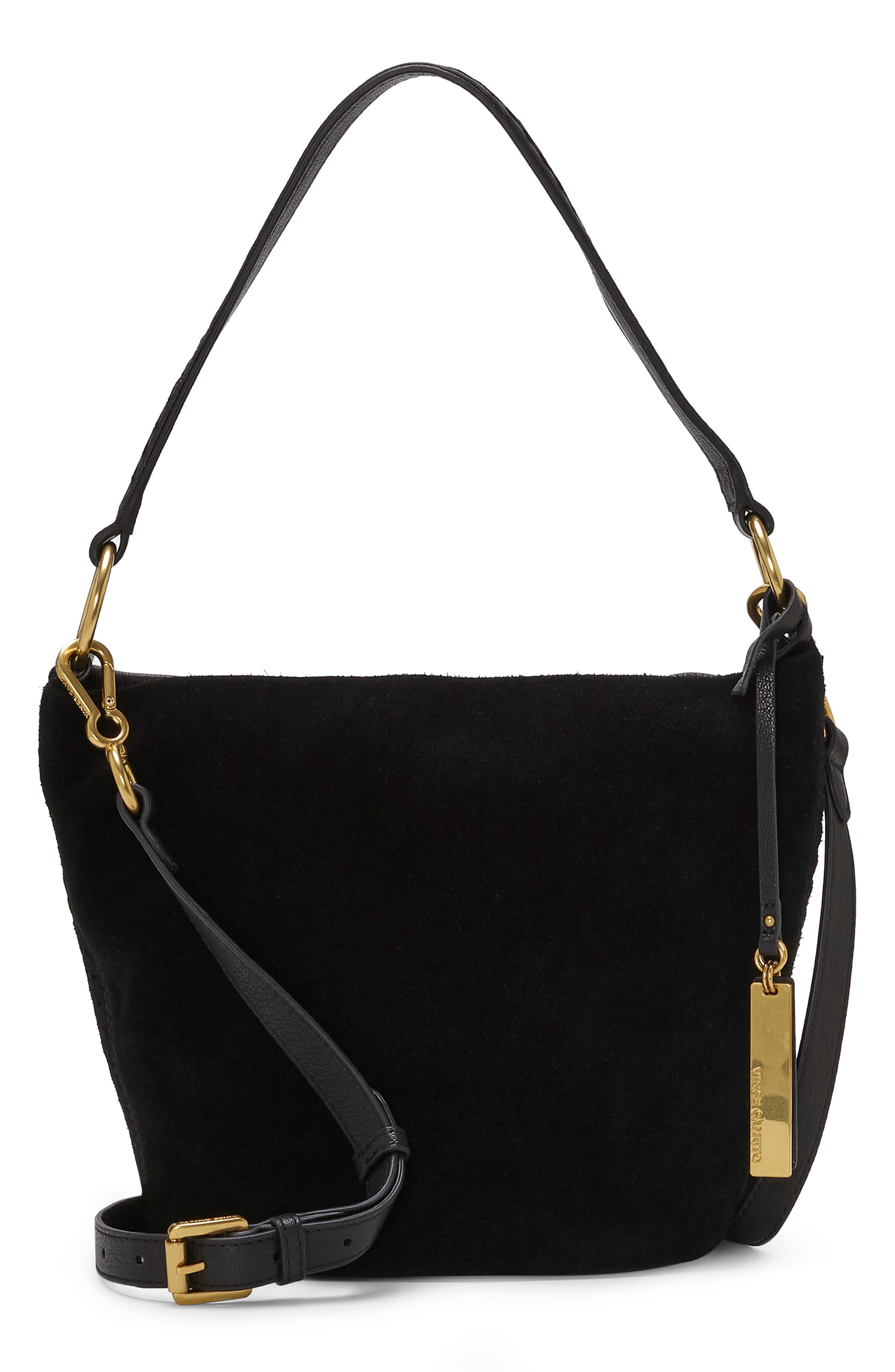 Suza Leather Bucket Bag,                         Main,                         color, JET BLACK