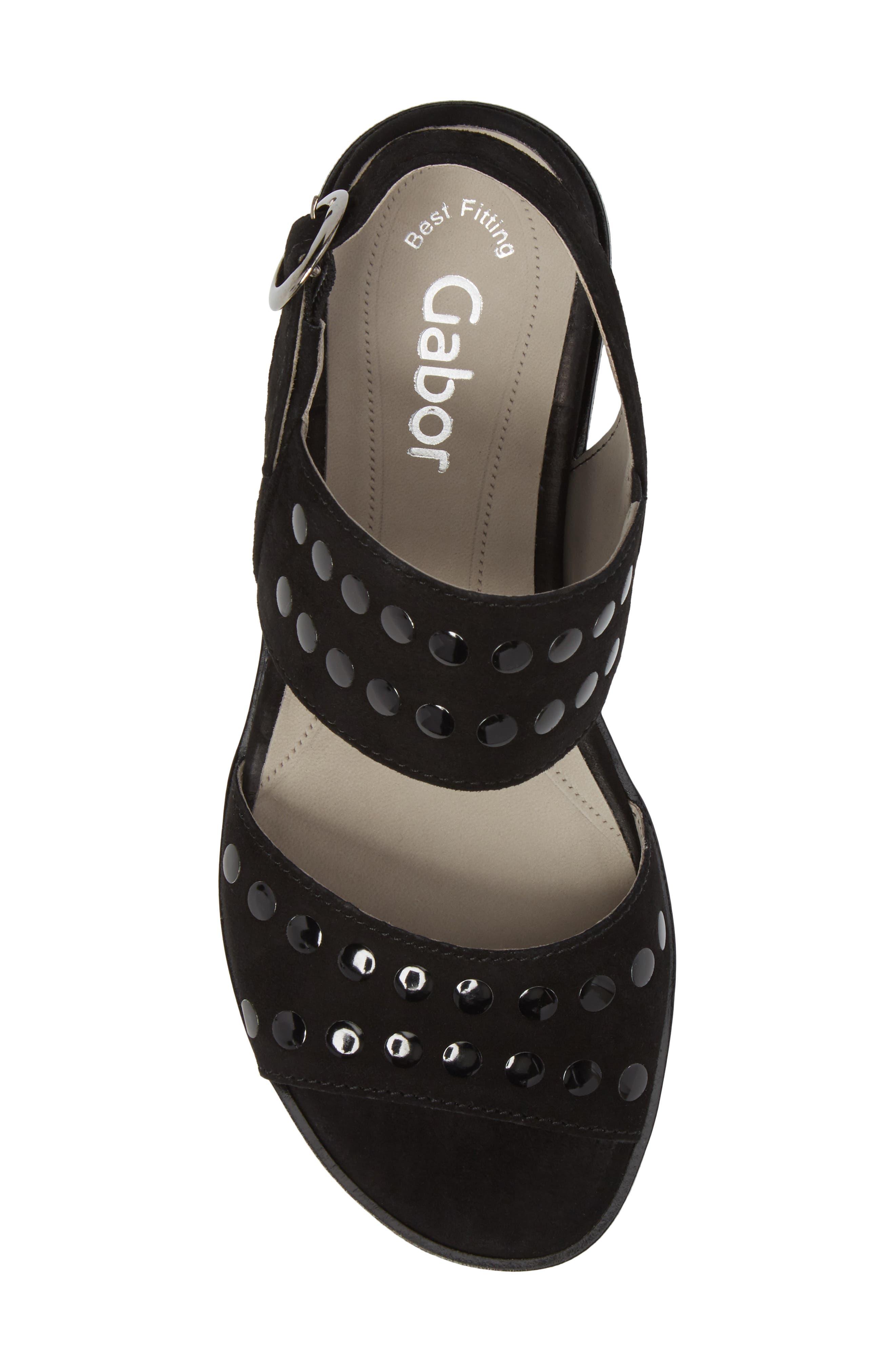 Studded Sandal,                             Alternate thumbnail 5, color,                             BLACK SUEDE
