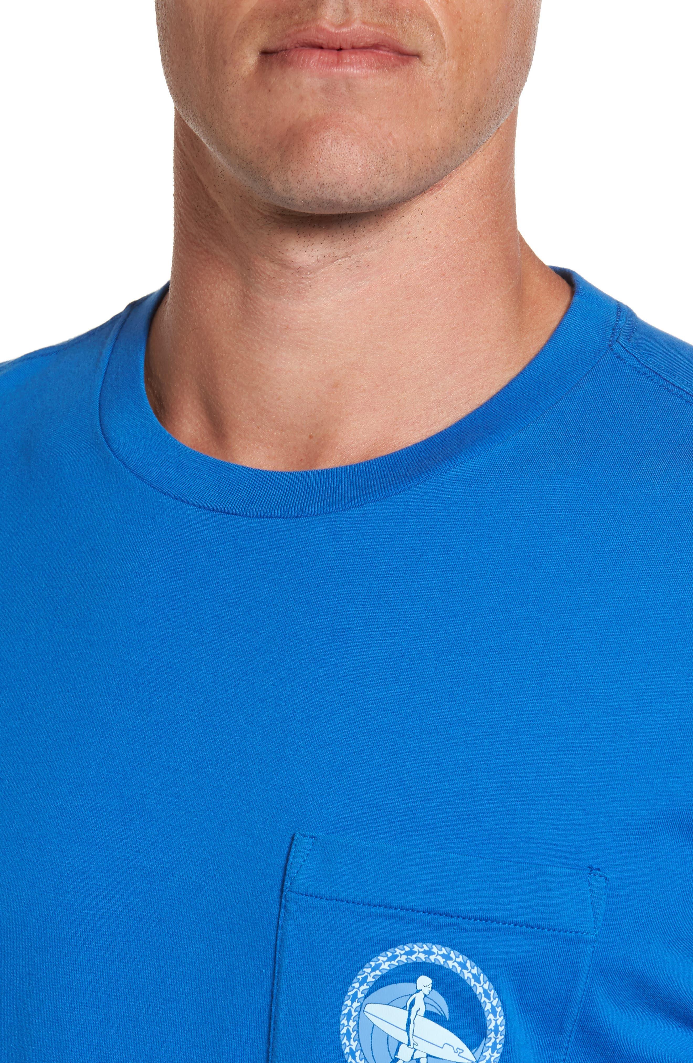 Surf Wave Graphic Pocket T-Shirt,                             Alternate thumbnail 4, color,                             427
