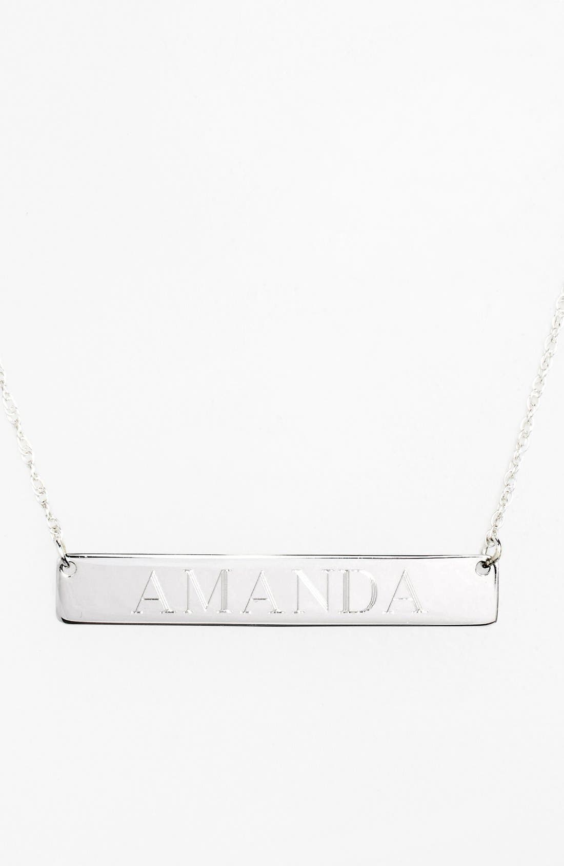 Personalized Bar Pendant Necklace,                             Main thumbnail 1, color,                             SILVER