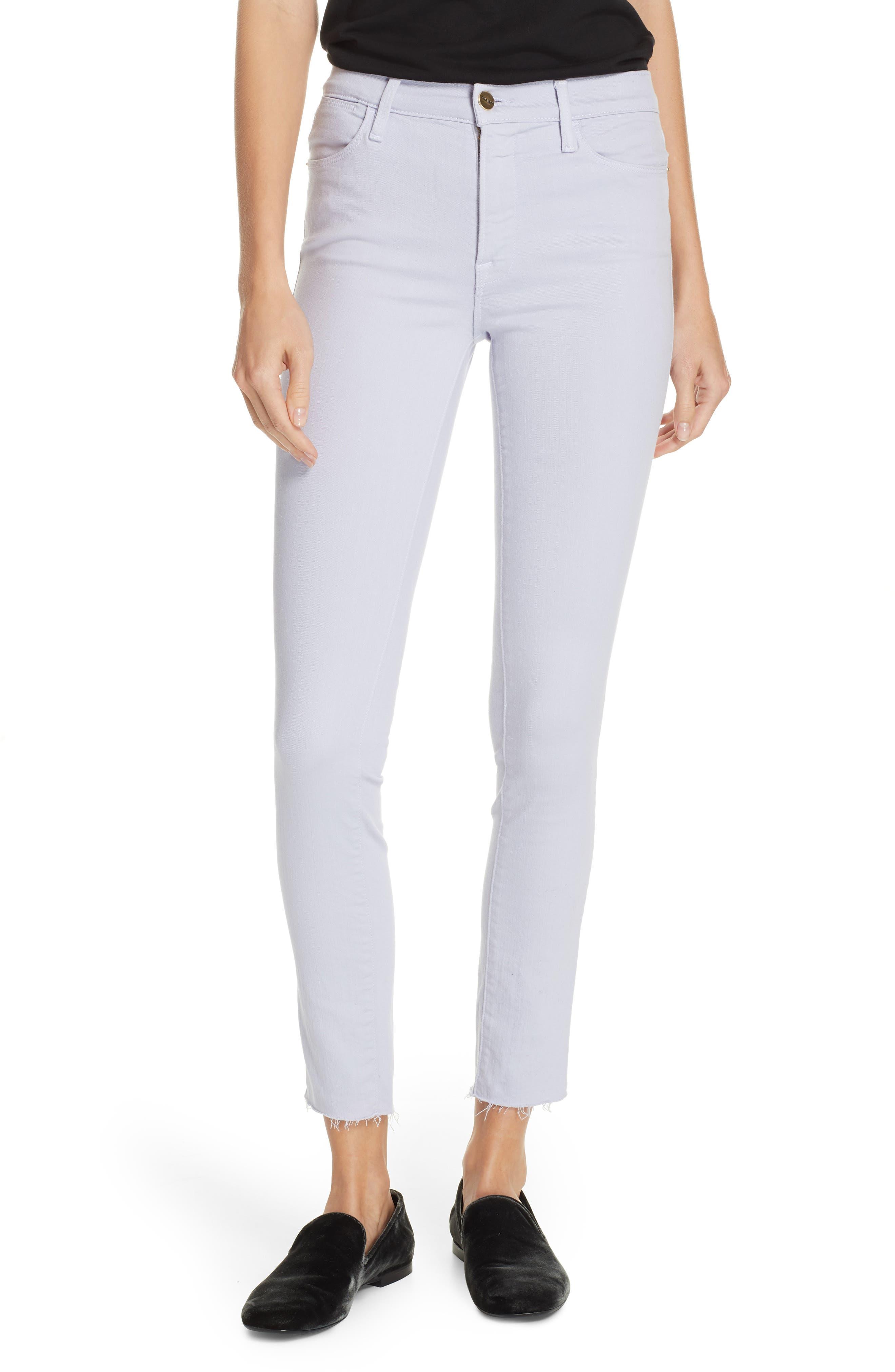 Le High Raw Hem Ankle Skinny Jeans, Main, color, LAVENDER