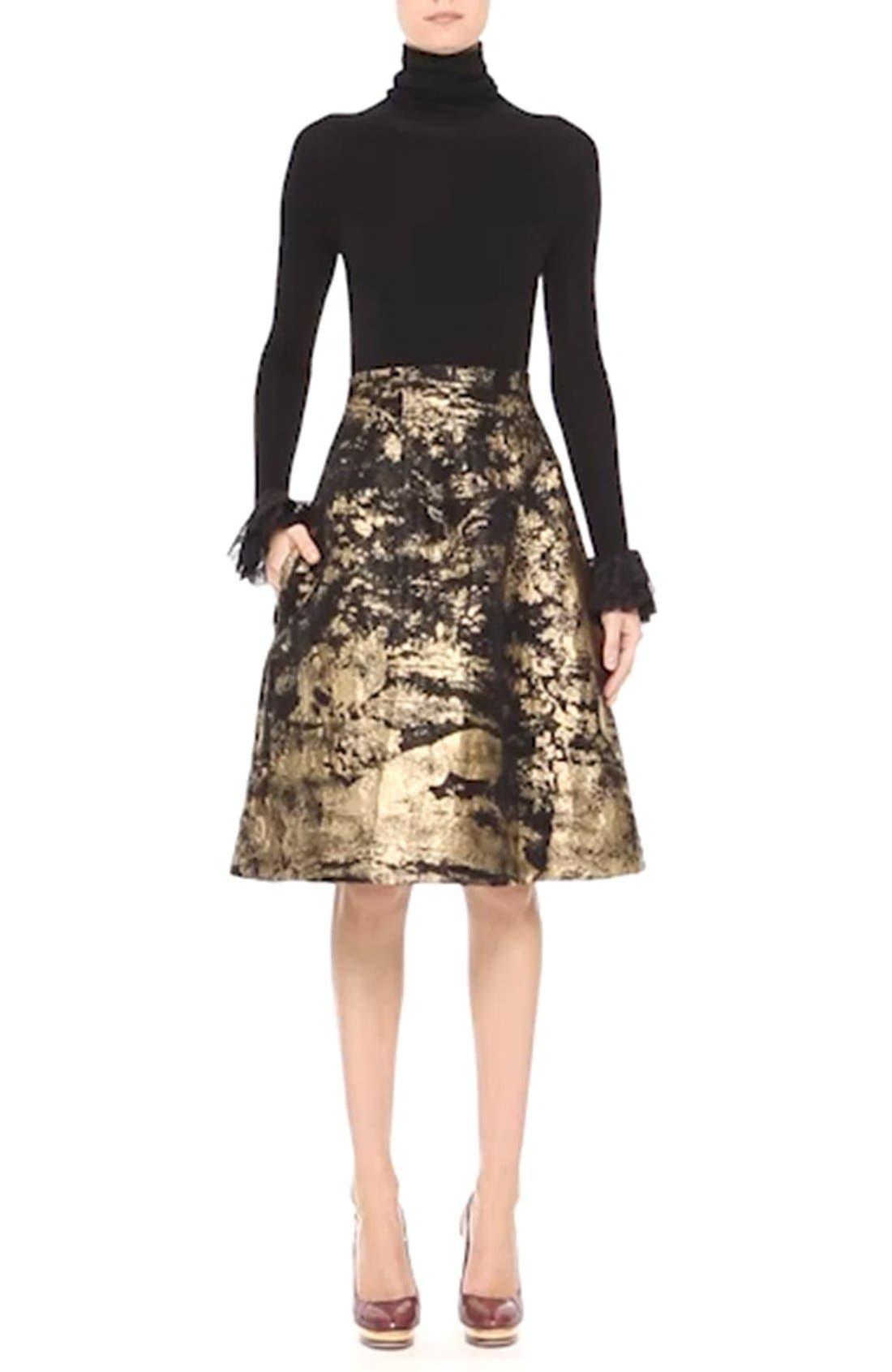 Peacock Jacquard Skirt,                             Alternate thumbnail 3, color,                             710