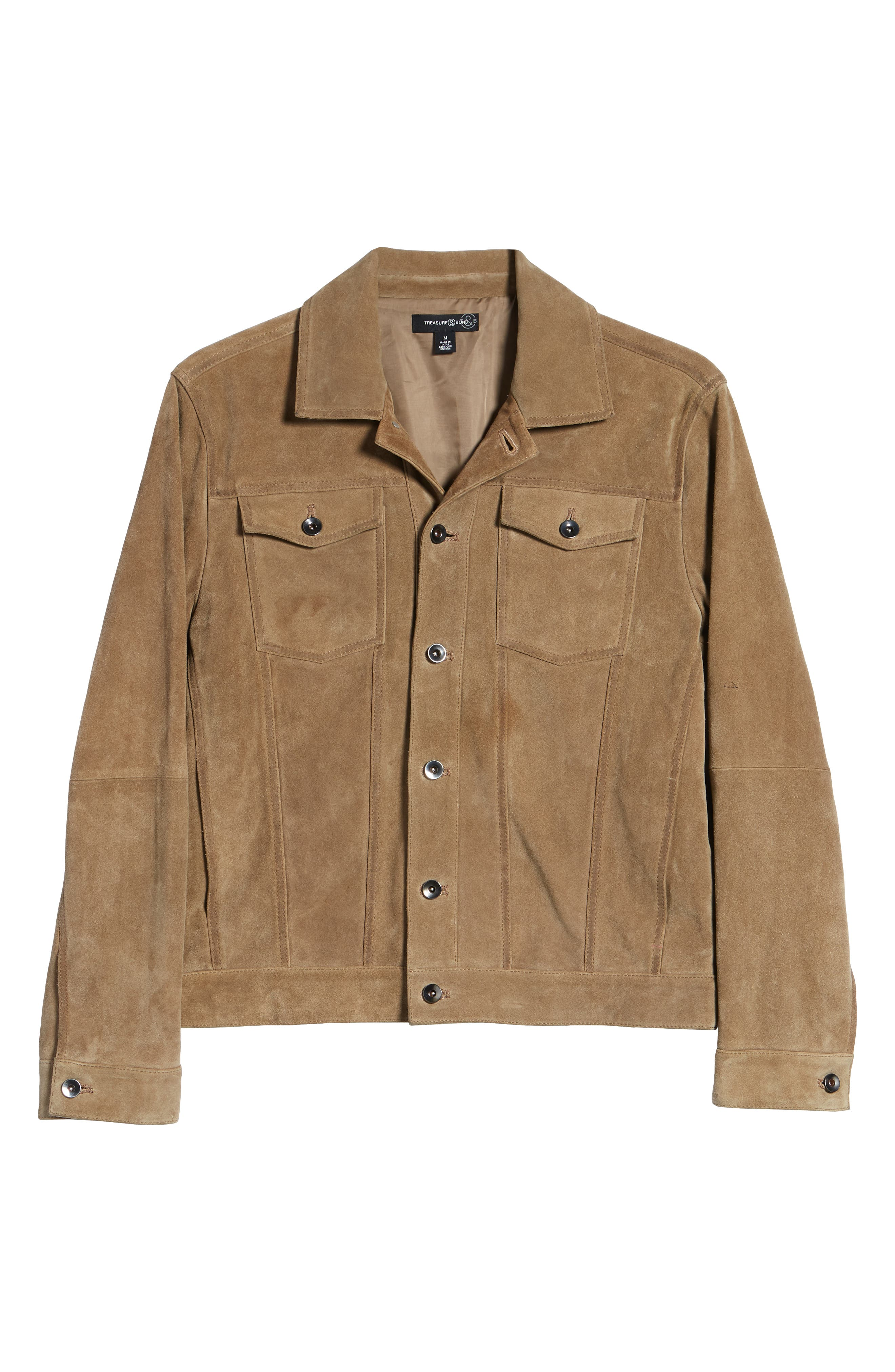 Suede Trucker Jacket,                             Alternate thumbnail 6, color,                             BROWN OTTER