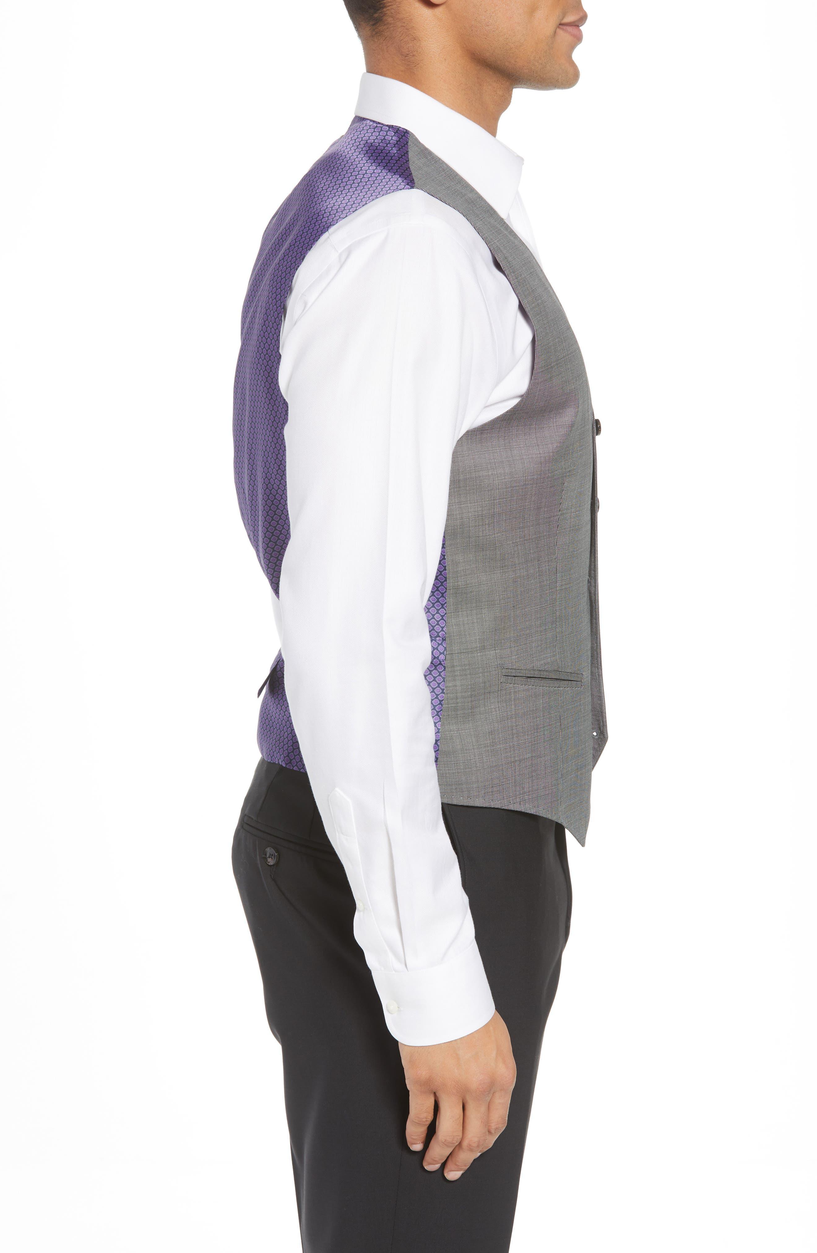 Troy Trim Fit Solid Wool Vest,                             Alternate thumbnail 3, color,                             LIGHT GREY