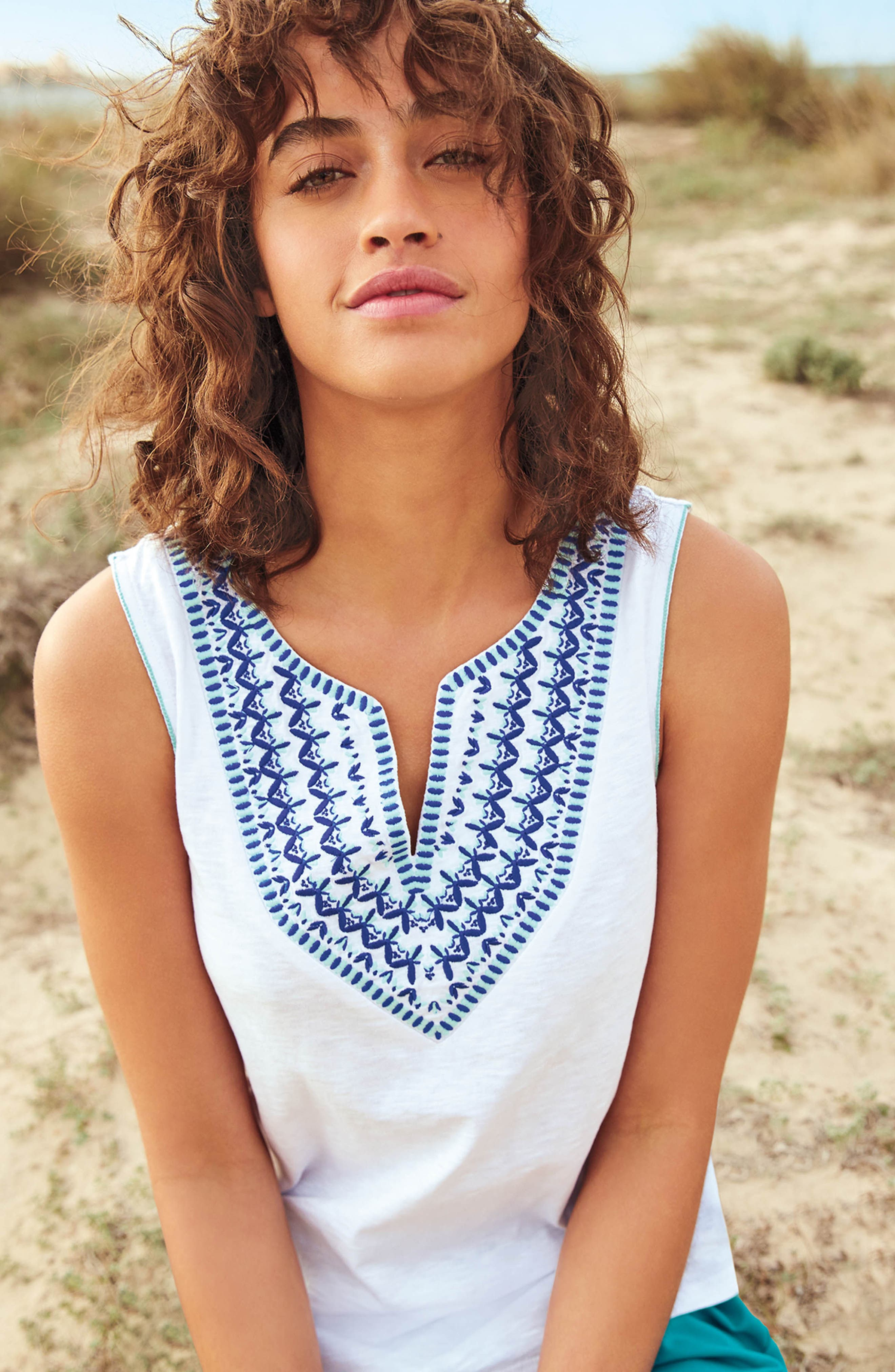 BODEN,                             Embroidered Tank,                             Alternate thumbnail 7, color,                             100