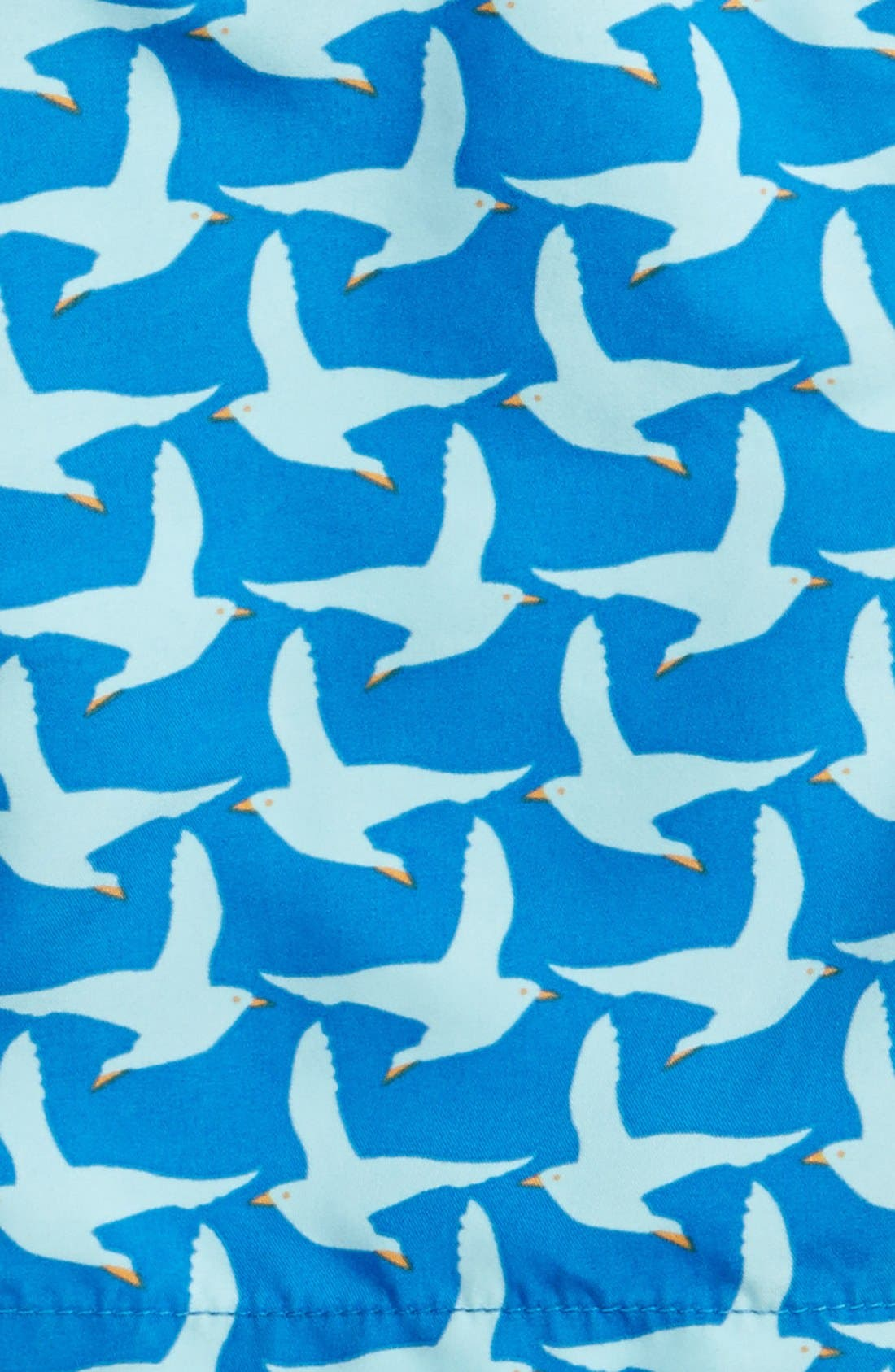 'Pattern Seagulls' Swim Trunks,                             Alternate thumbnail 3, color,                             COBALT BLUE