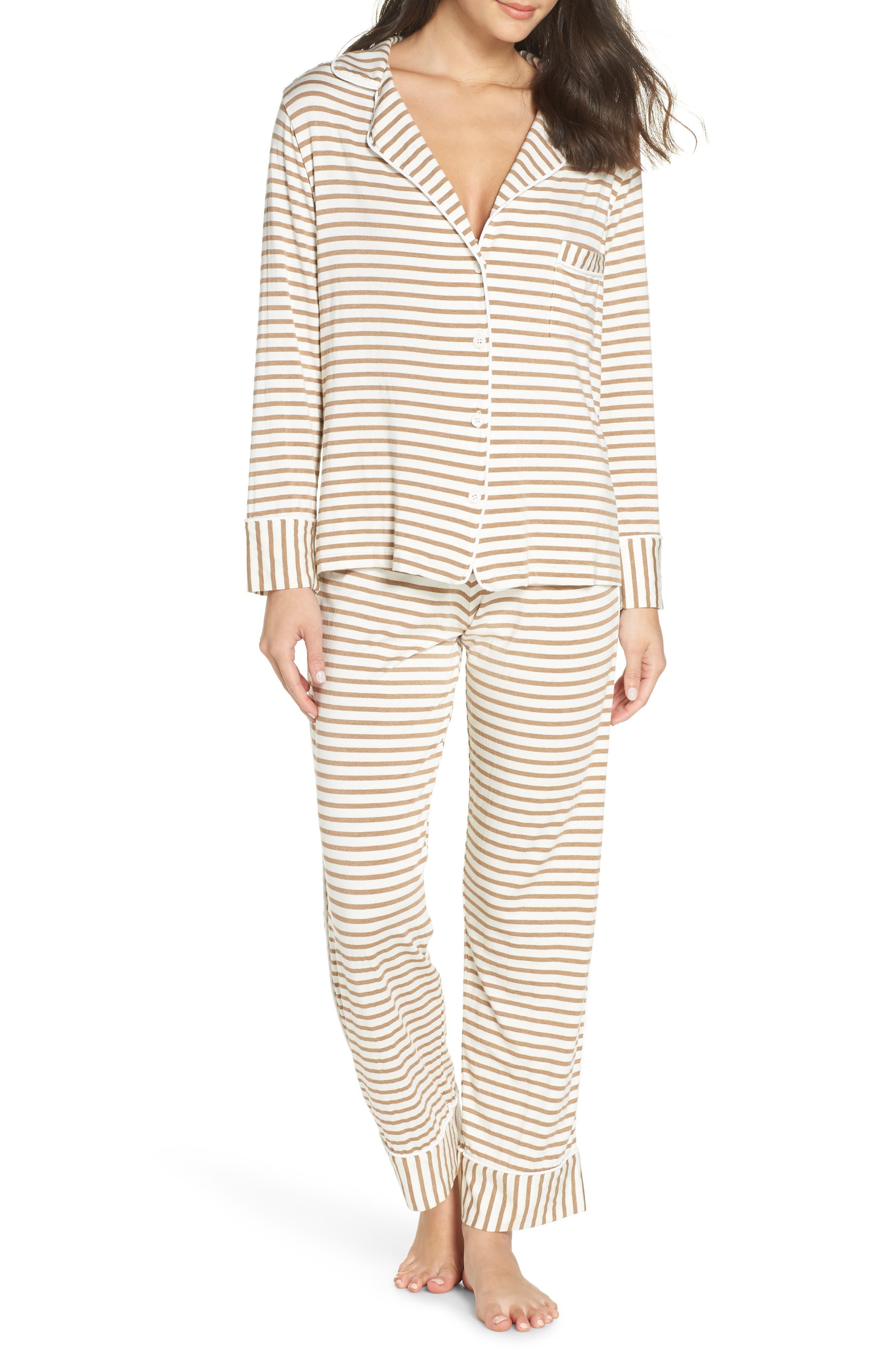 Monaco Pajamas,                             Main thumbnail 1, color,                             CAMEL STRIPE