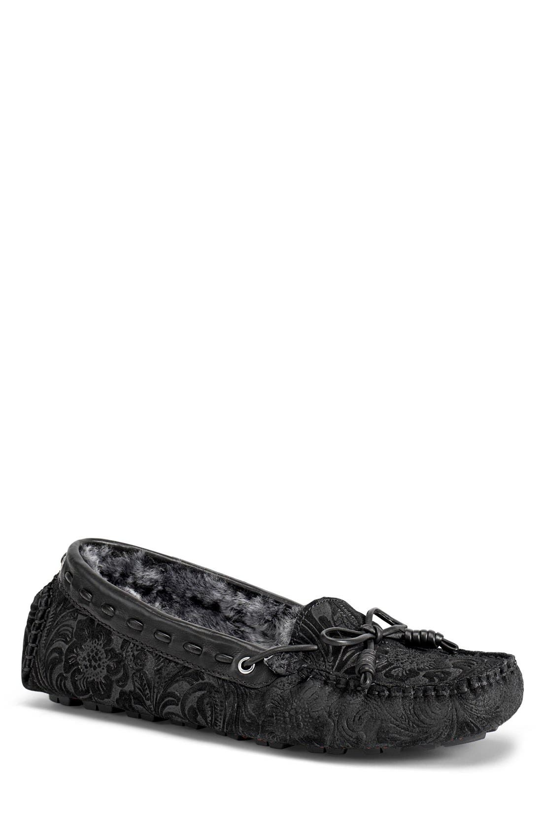 'Sophia' Genuine Shearling Lined Driving Loafer,                             Main thumbnail 1, color,                             008