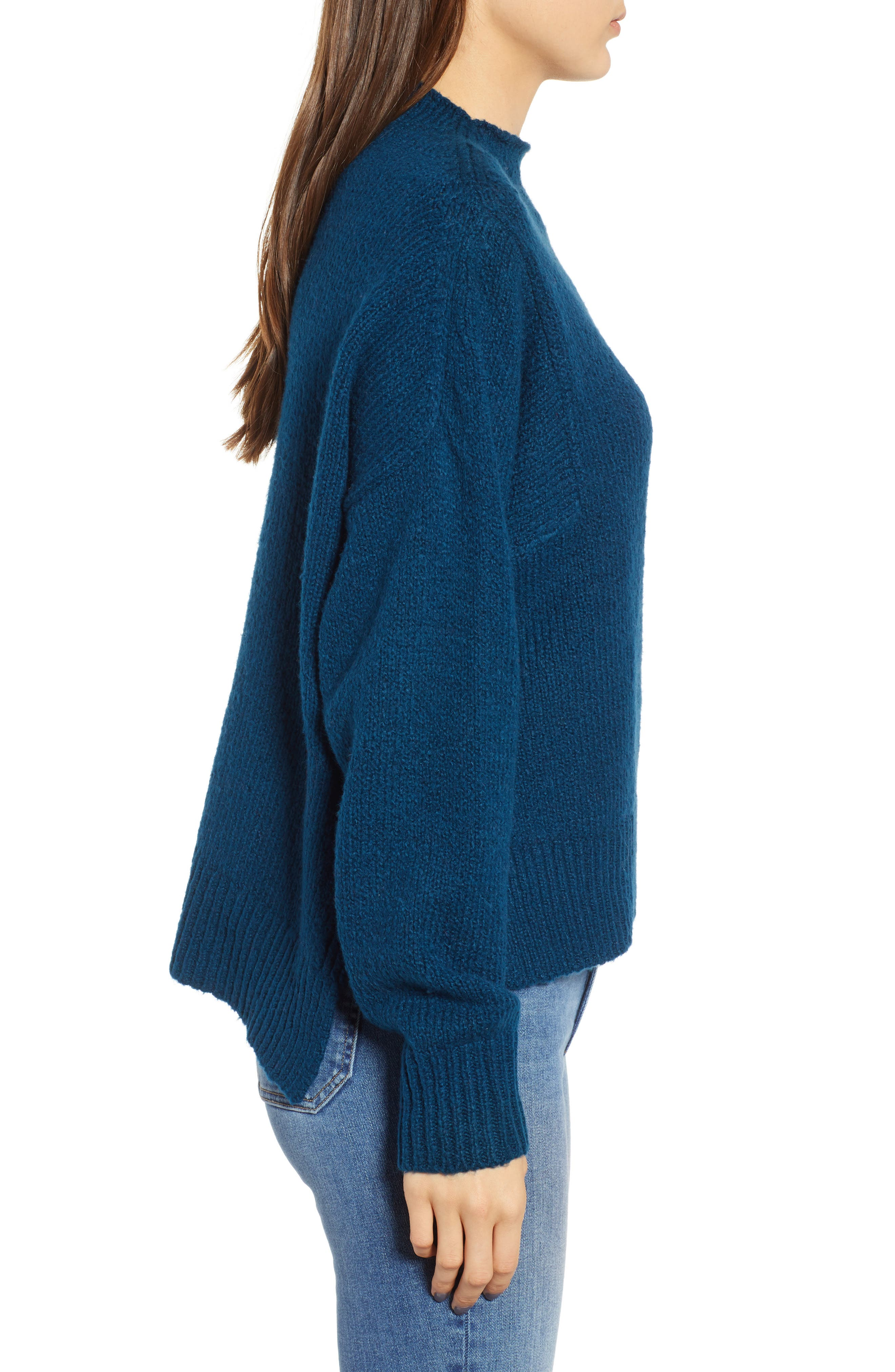 Fuzzy Side Slit Sweater,                             Alternate thumbnail 3, color,                             401