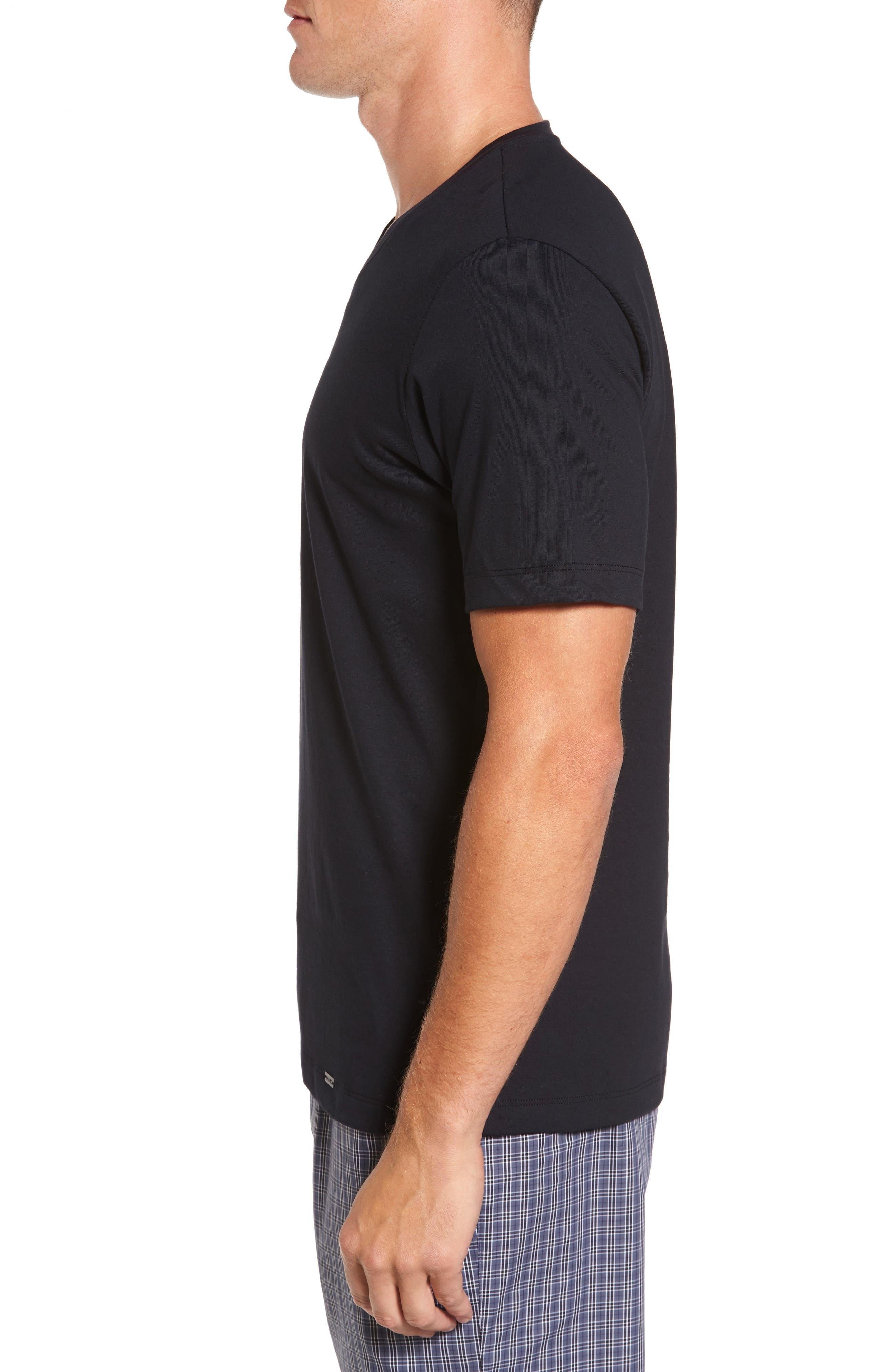 Living V-Neck T-Shirt,                             Alternate thumbnail 3, color,                             BLACK