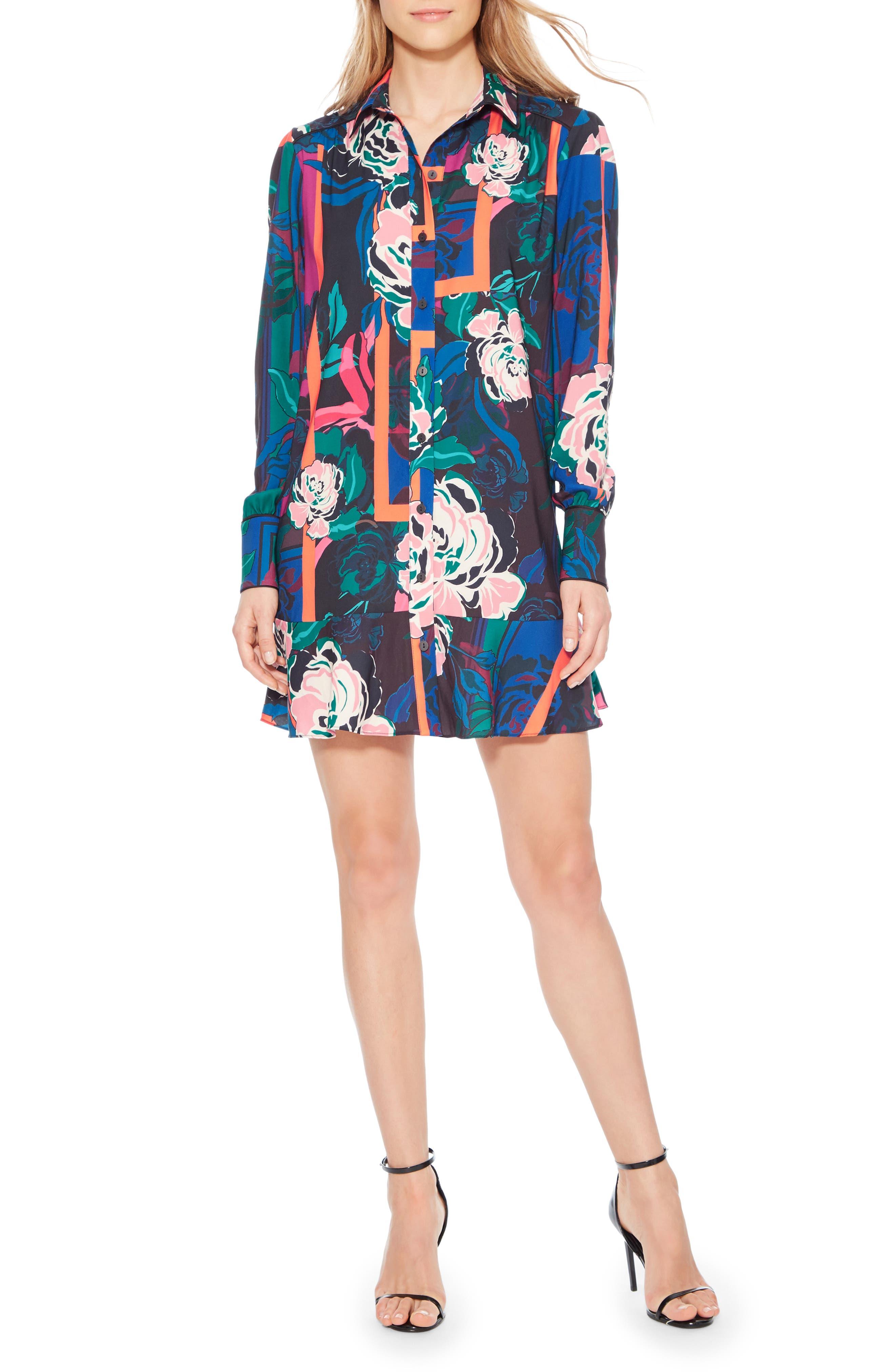 Norma Floral Print Shirtdress,                         Main,                         color, IRVING ROSE