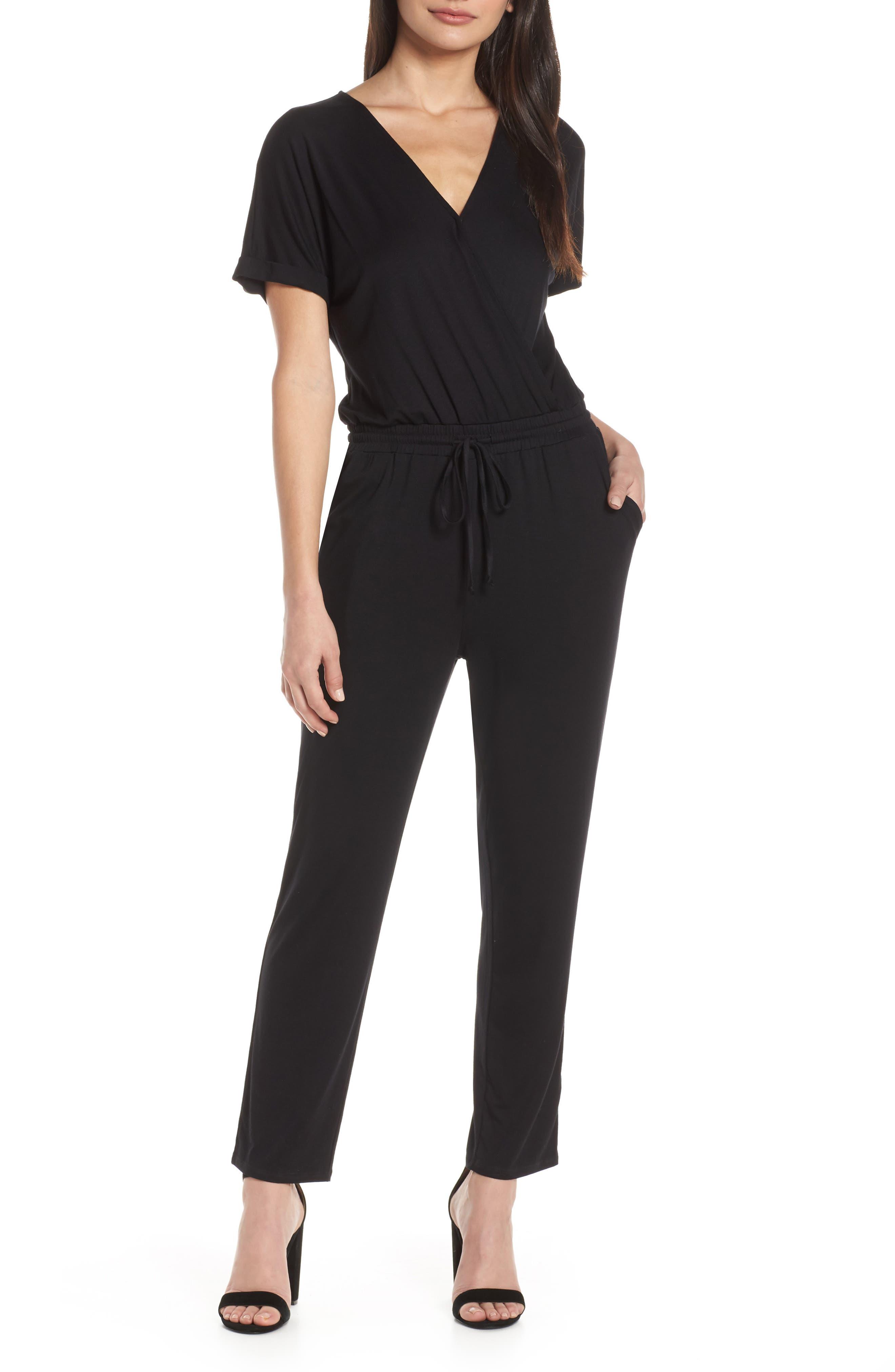 CHELSEA28 Faux Wrap Jumpsuit, Main, color, BLACK
