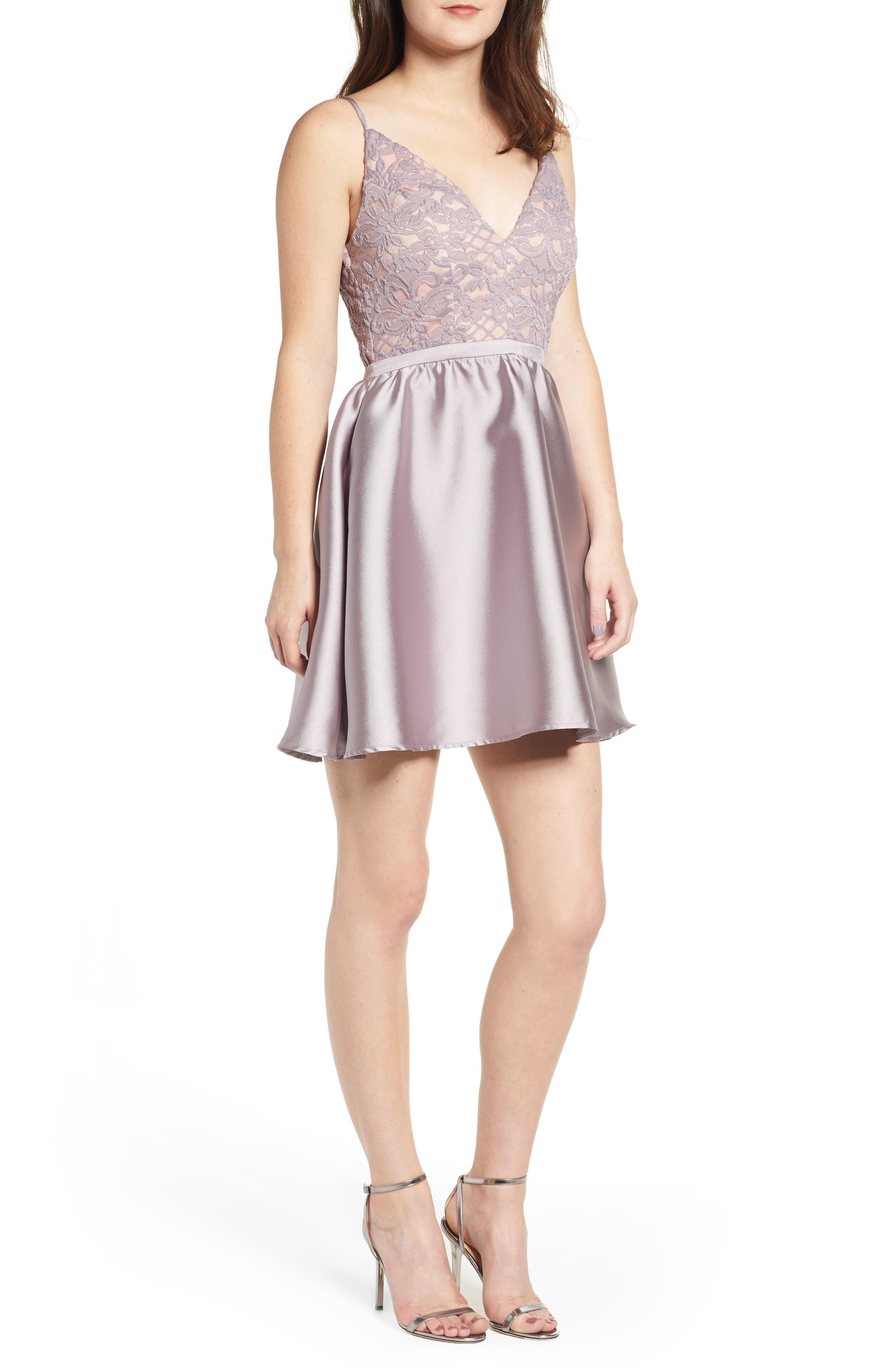 Lace & Taffeta Party Dress,                             Main thumbnail 1, color,                             MAUVE