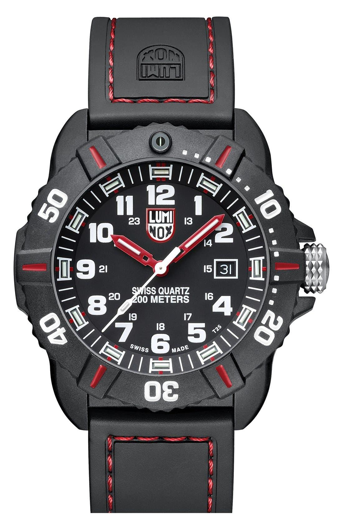 'Coronado' Rubber Strap Watch, 44mm,                             Main thumbnail 1, color,                             001