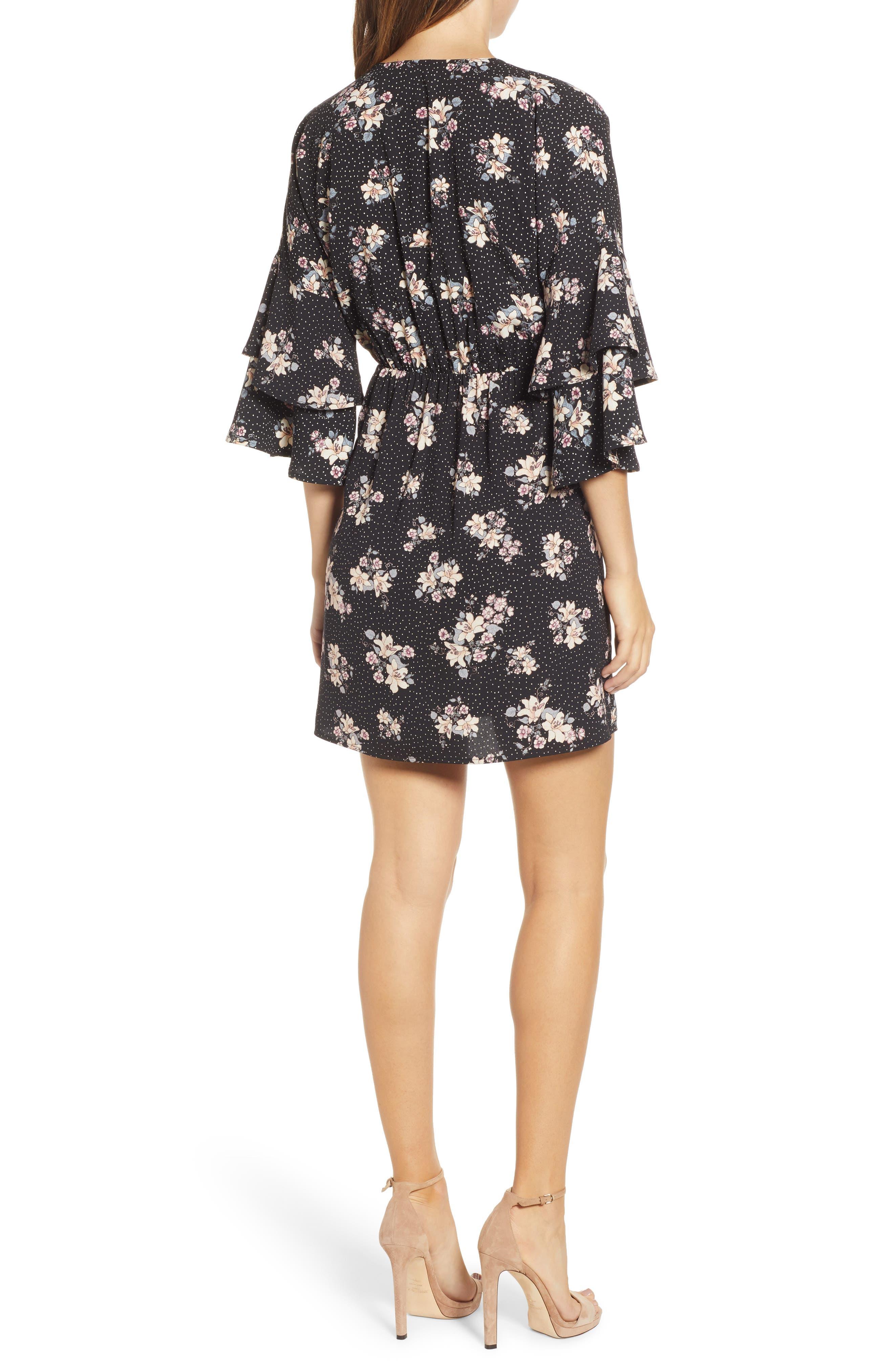 Printed Ruffle Sleeve Minidress,                             Alternate thumbnail 2, color,                             001