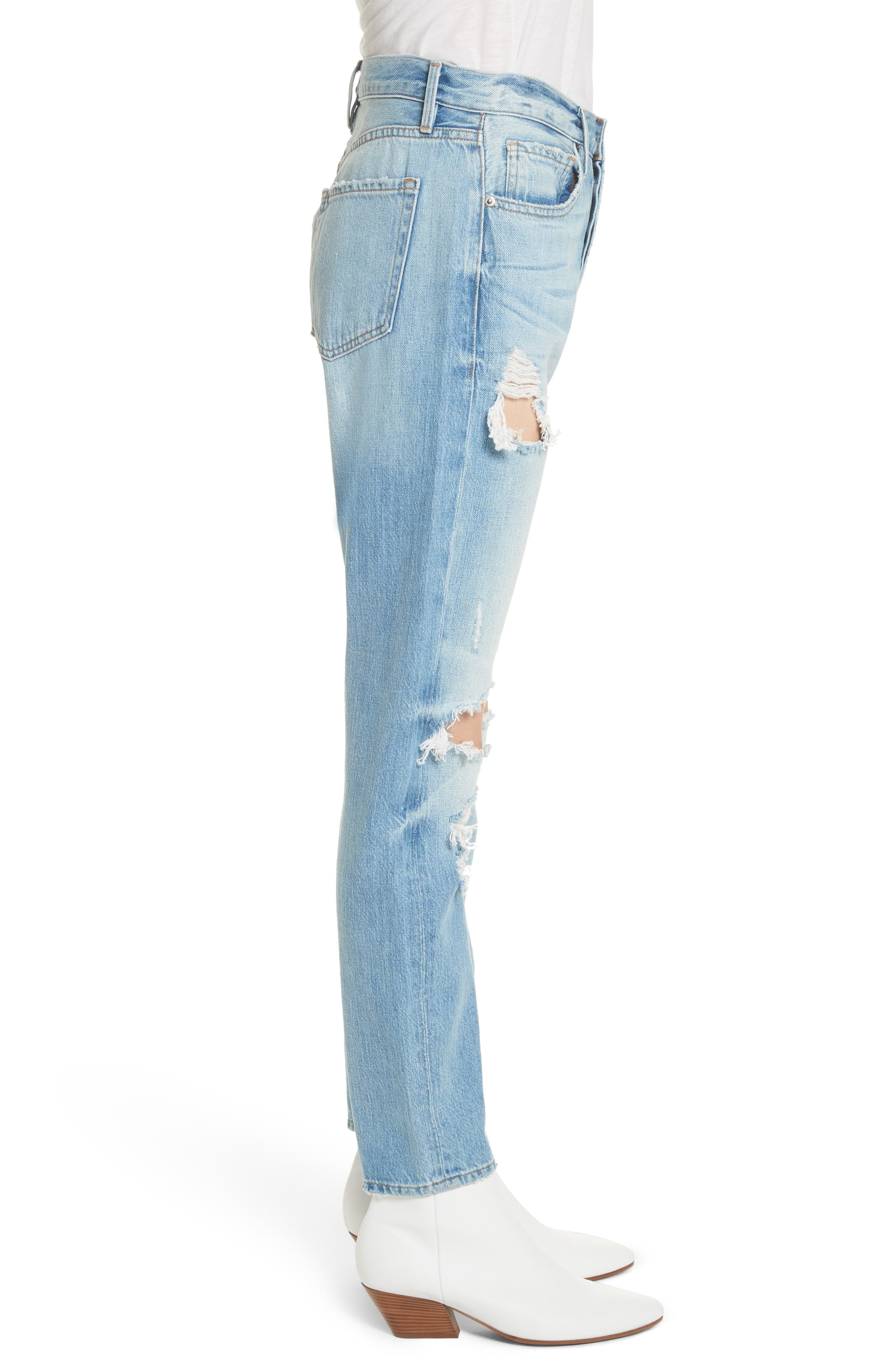 Le Original Ripped High Waist Skinny Jeans,                             Alternate thumbnail 3, color,                             POMDALE
