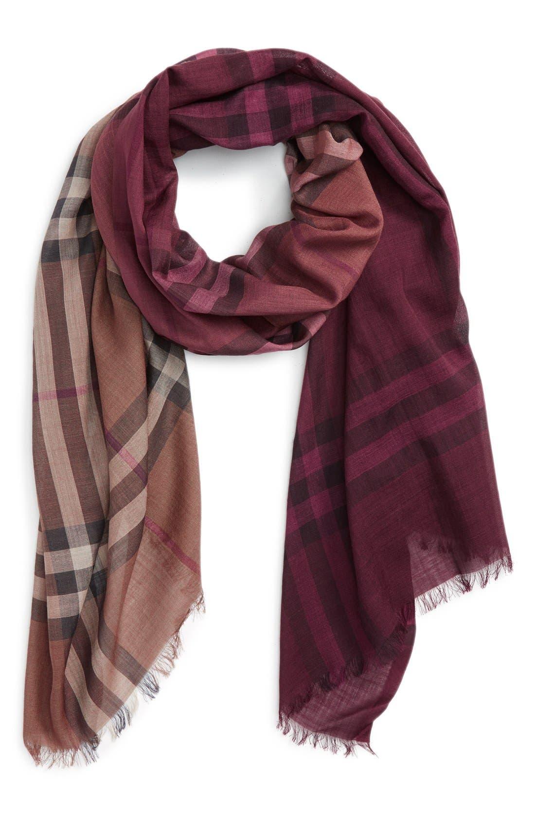 Ombré Check Wool & Silk Scarf,                         Main,                         color,