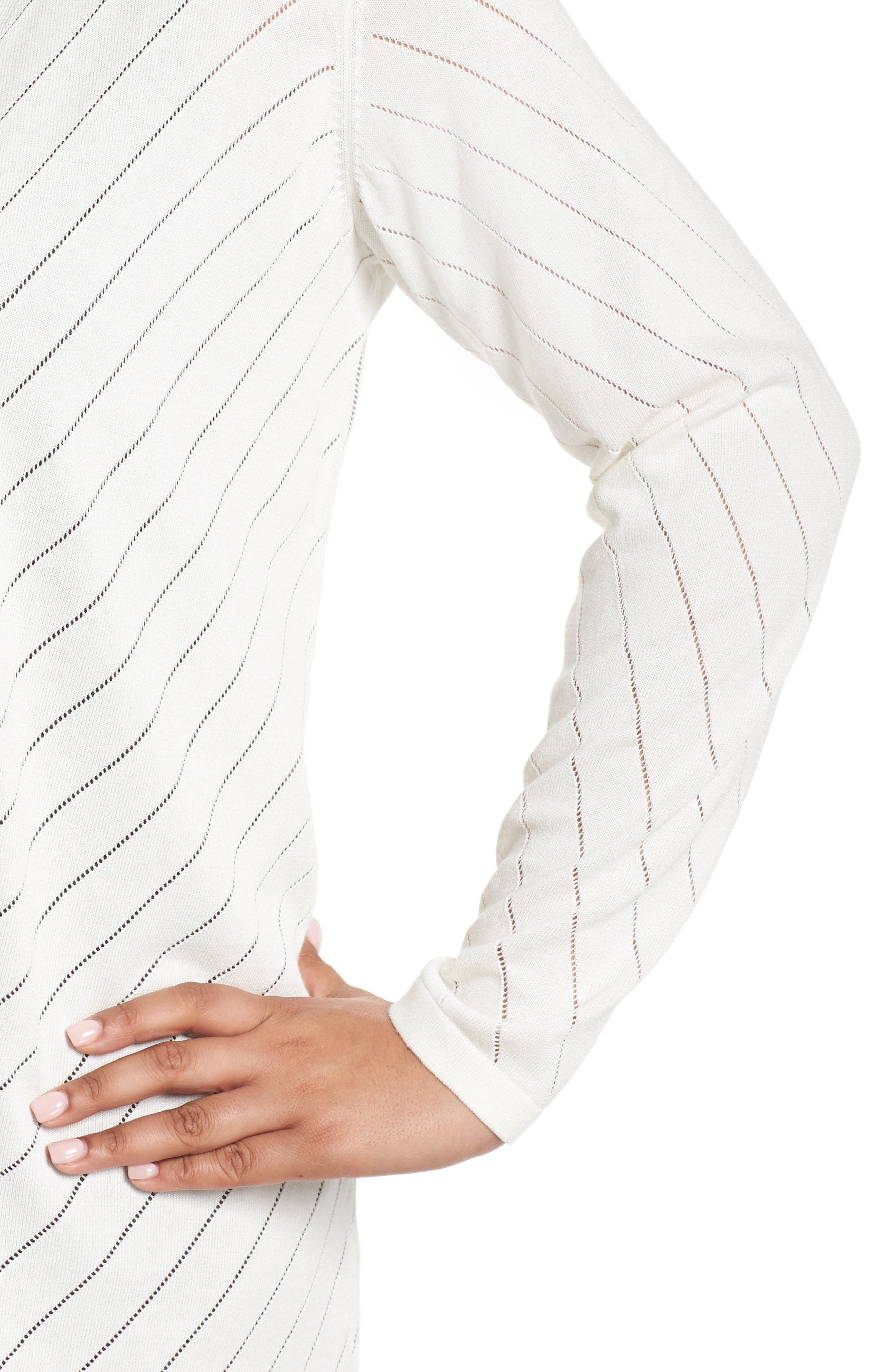 Pointelle Open Front Cardigan,                             Alternate thumbnail 4, color,                             NEW IVORY