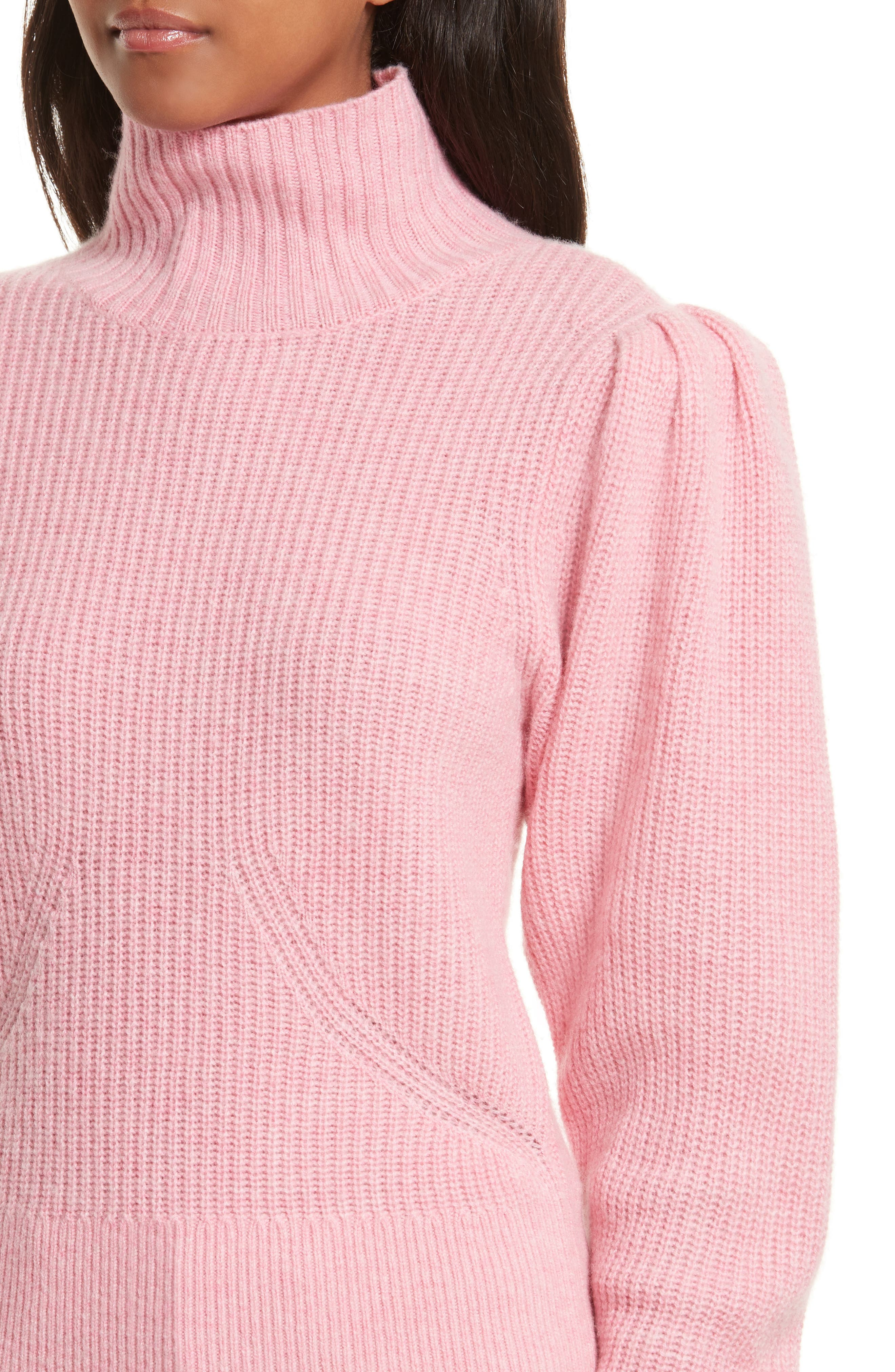 Wool & Cashmere Puff Sleeve Turtleneck Sweater,                             Alternate thumbnail 8, color,