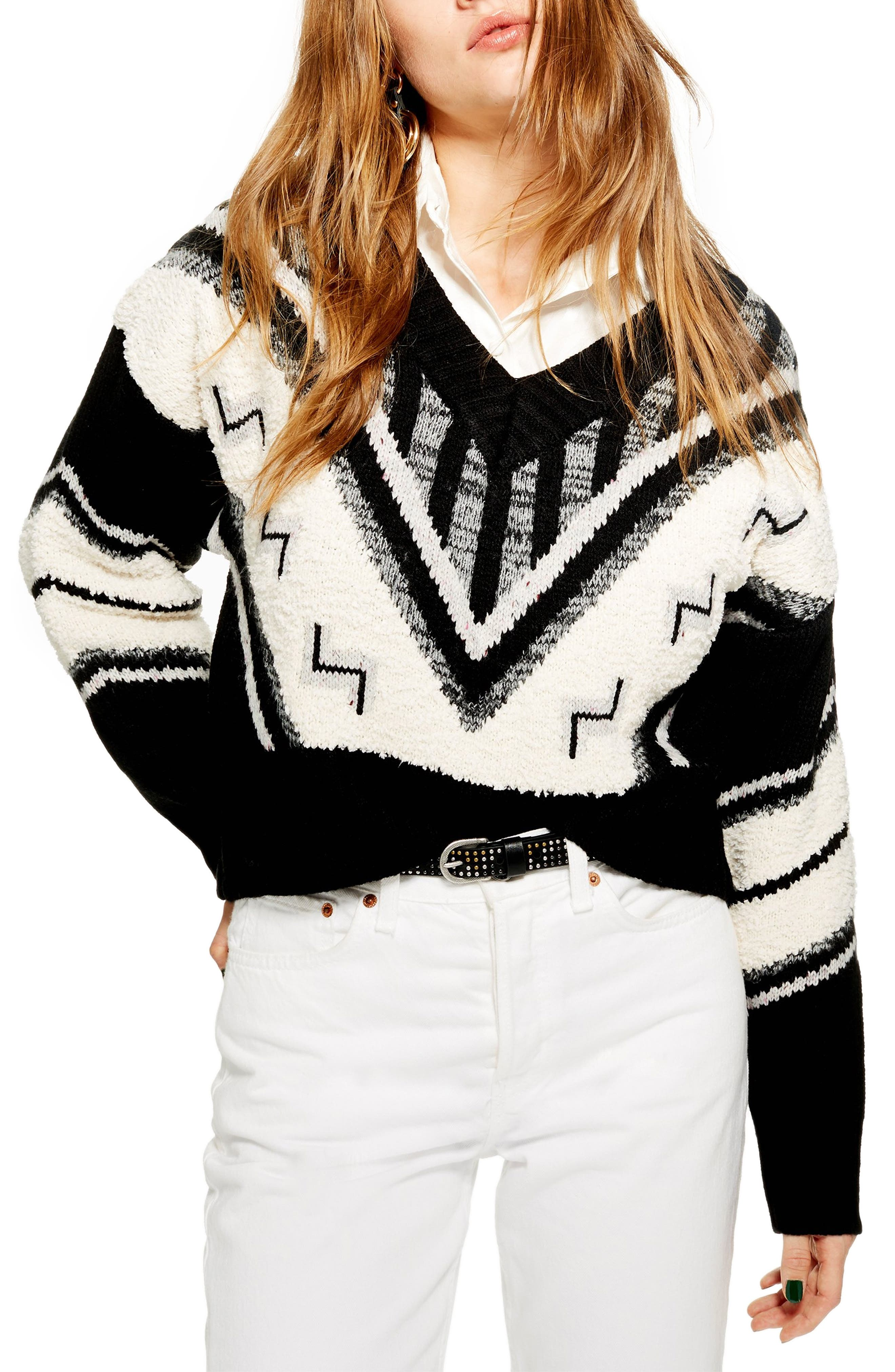 Aztec Rock 'n' Roll Sweater,                             Main thumbnail 1, color,                             BLACK MULTI