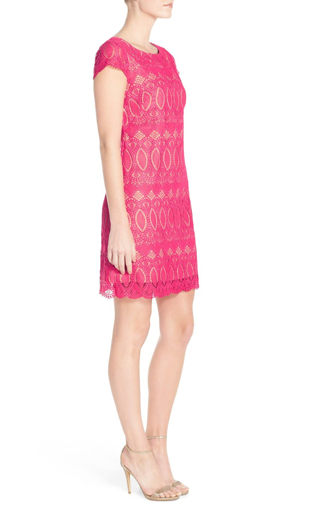 Scalloped Lace Sheath Dress,                             Alternate thumbnail 3, color,                             660