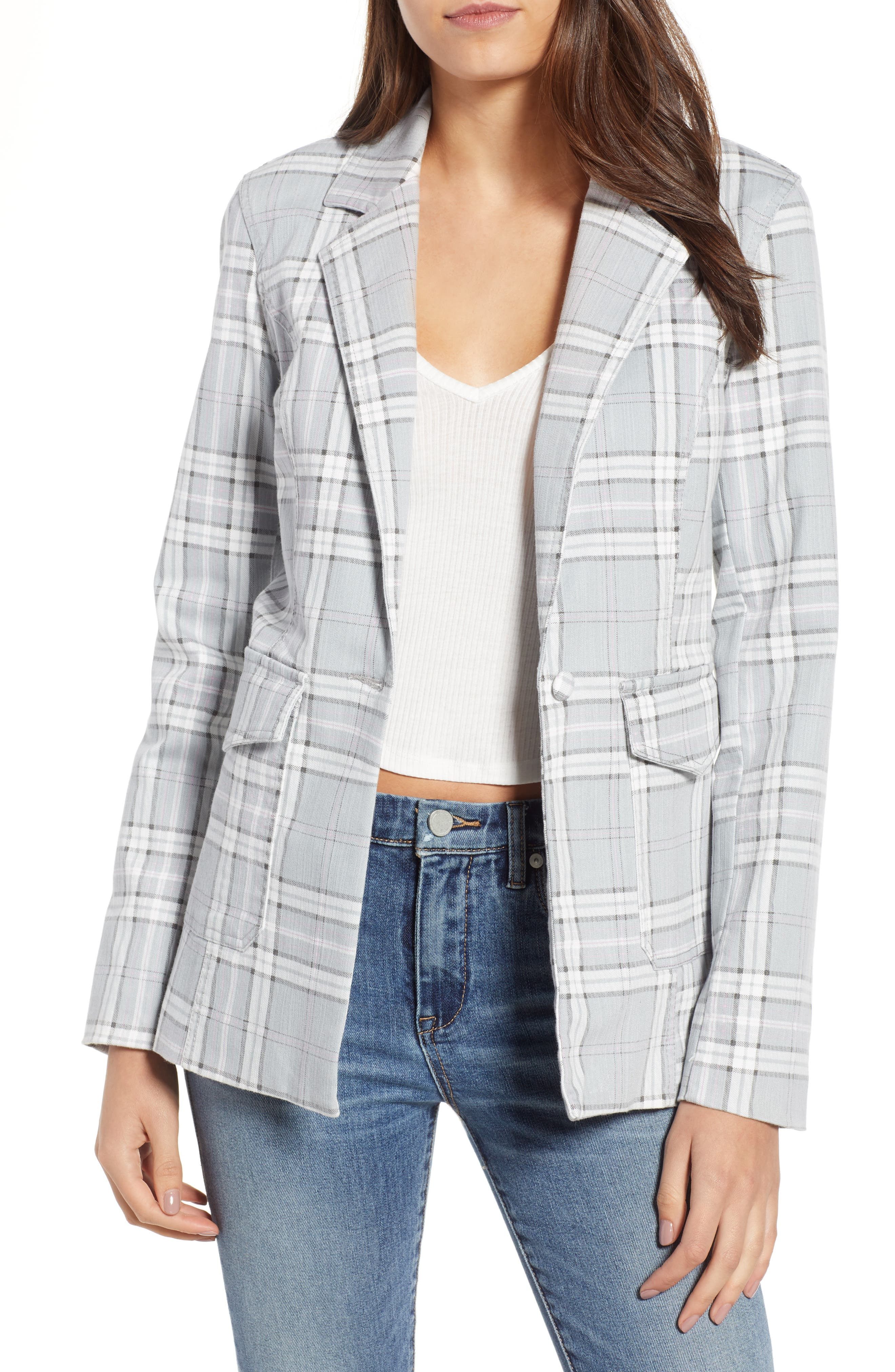 Lila Plaid Blazer,                             Main thumbnail 1, color,                             SOFT GREY PLAID