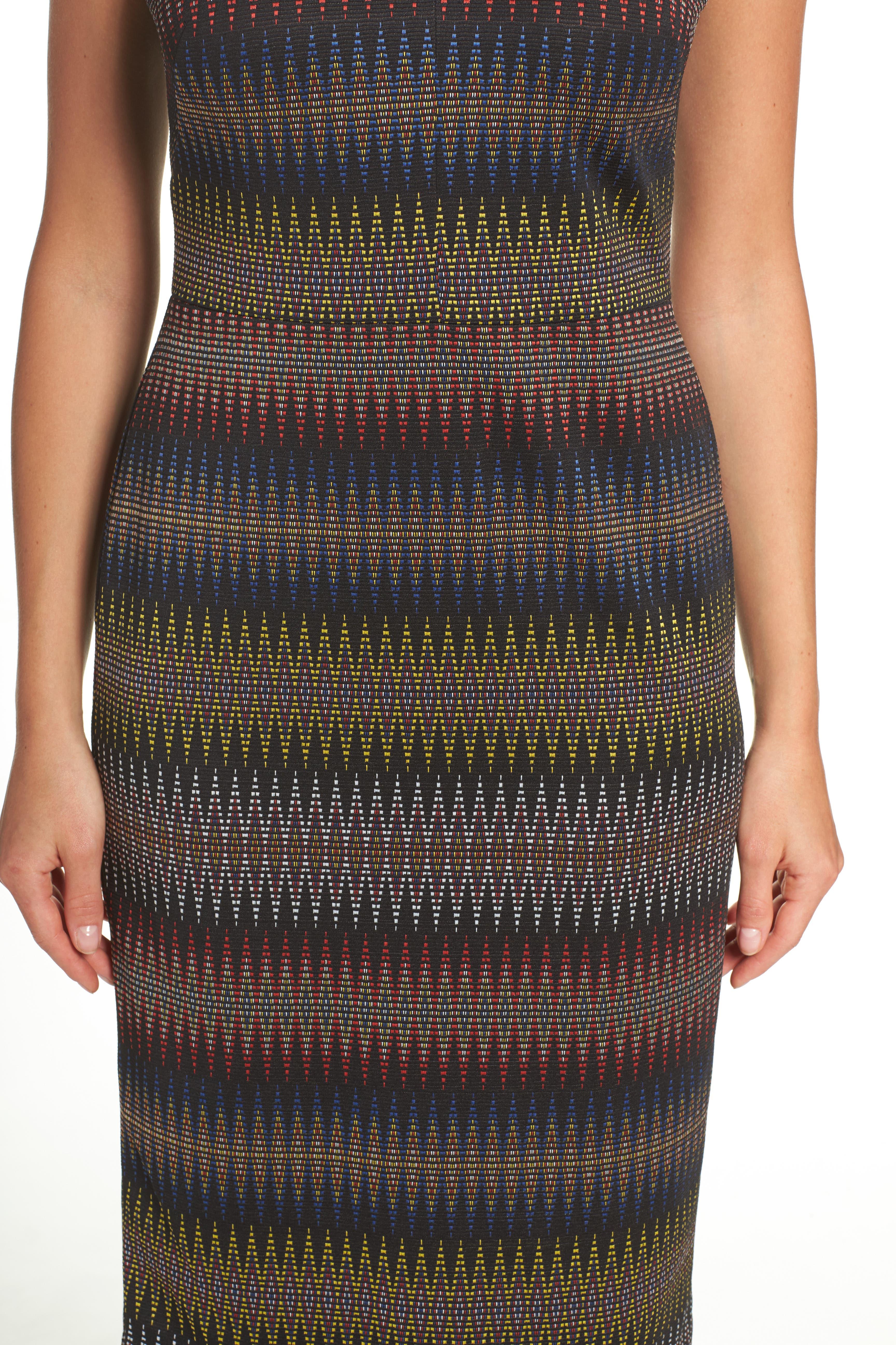 Jacquard Sheath Dress,                             Alternate thumbnail 5, color,                             001
