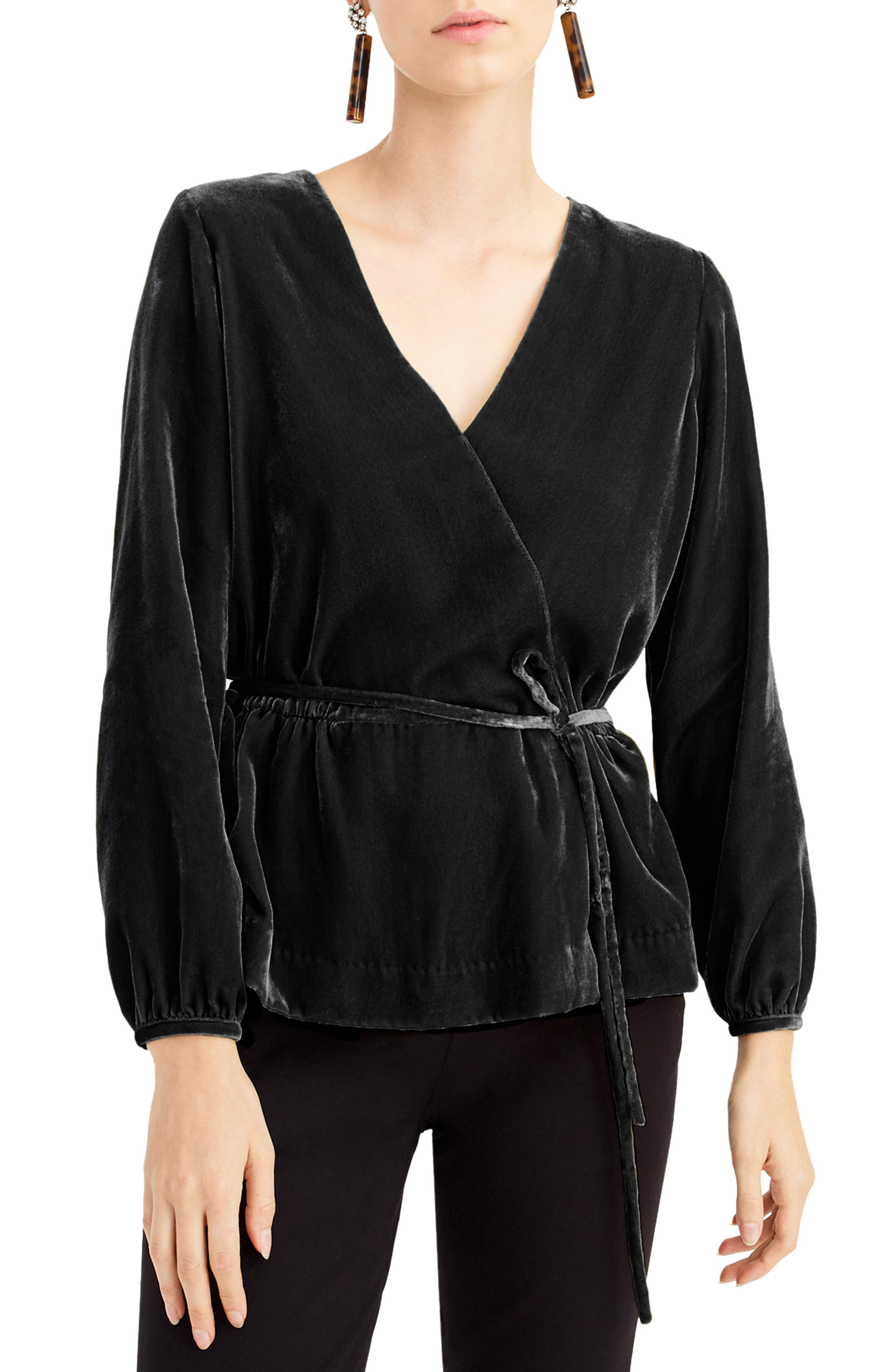 Faux Wrap Velvet Top,                         Main,                         color, BLACK