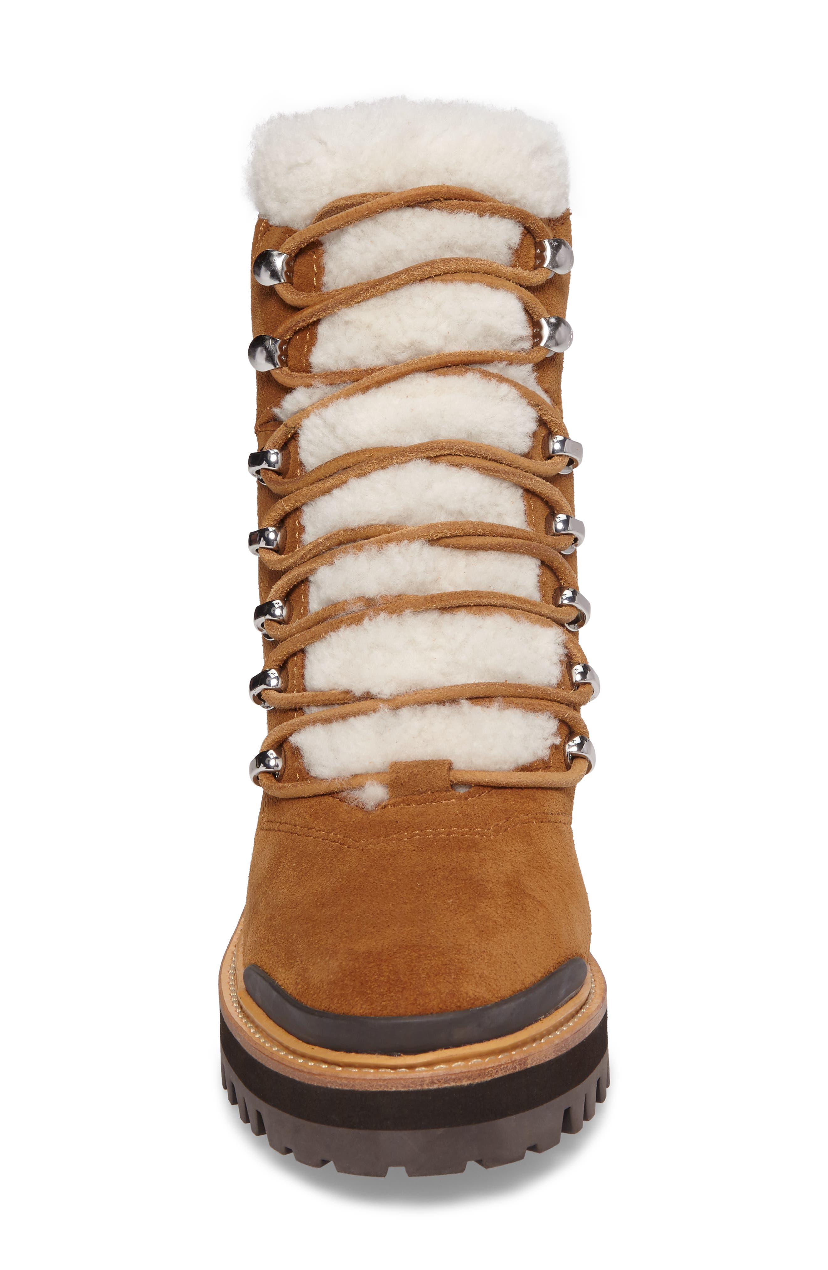 Izzie Genuine Shearling Lace-Up Boot,                             Alternate thumbnail 4, color,                             COGNAC SUEDE