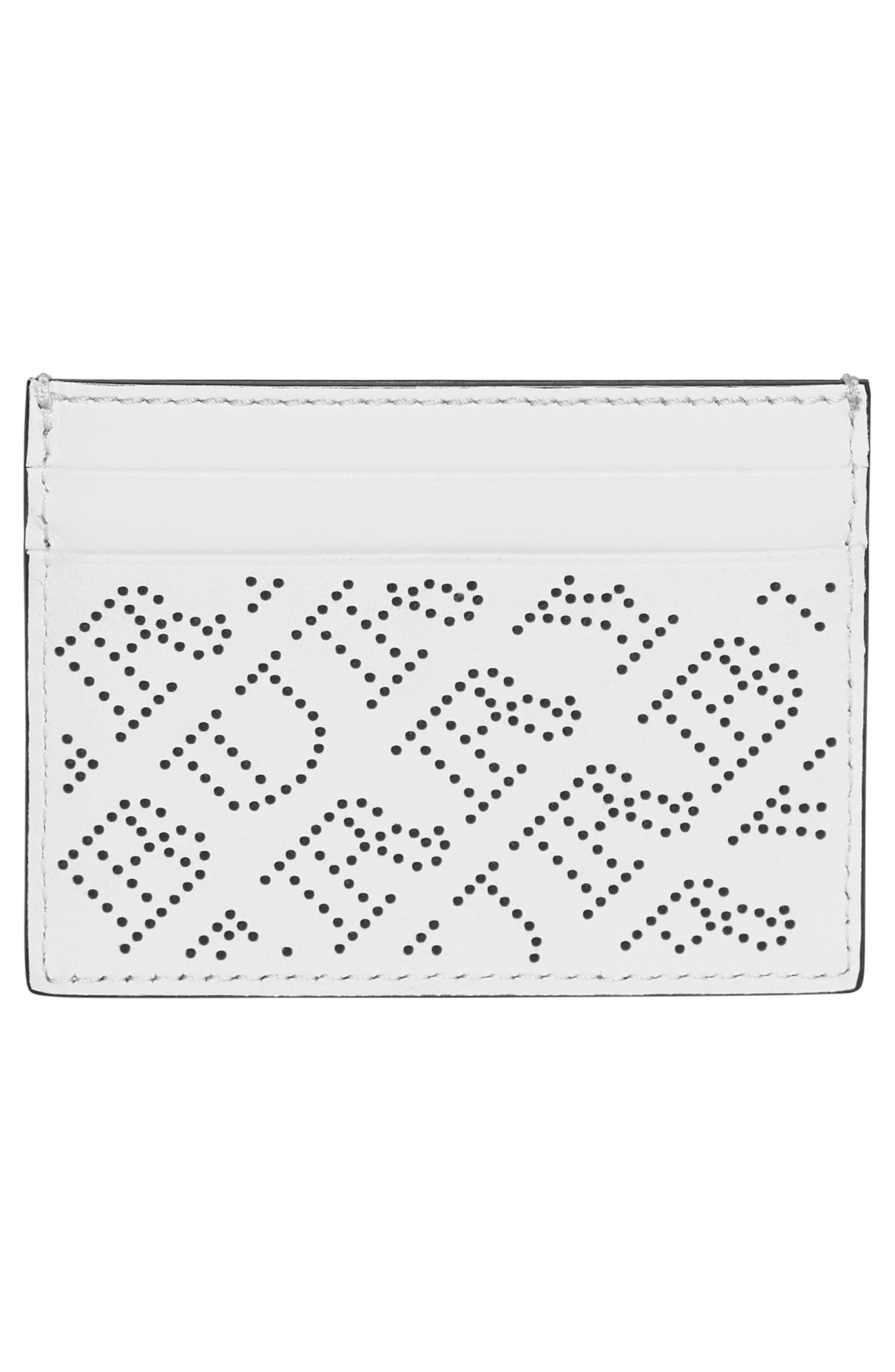 Sandon Perforated Logo Leather Card Case,                             Alternate thumbnail 2, color,                             WHITE