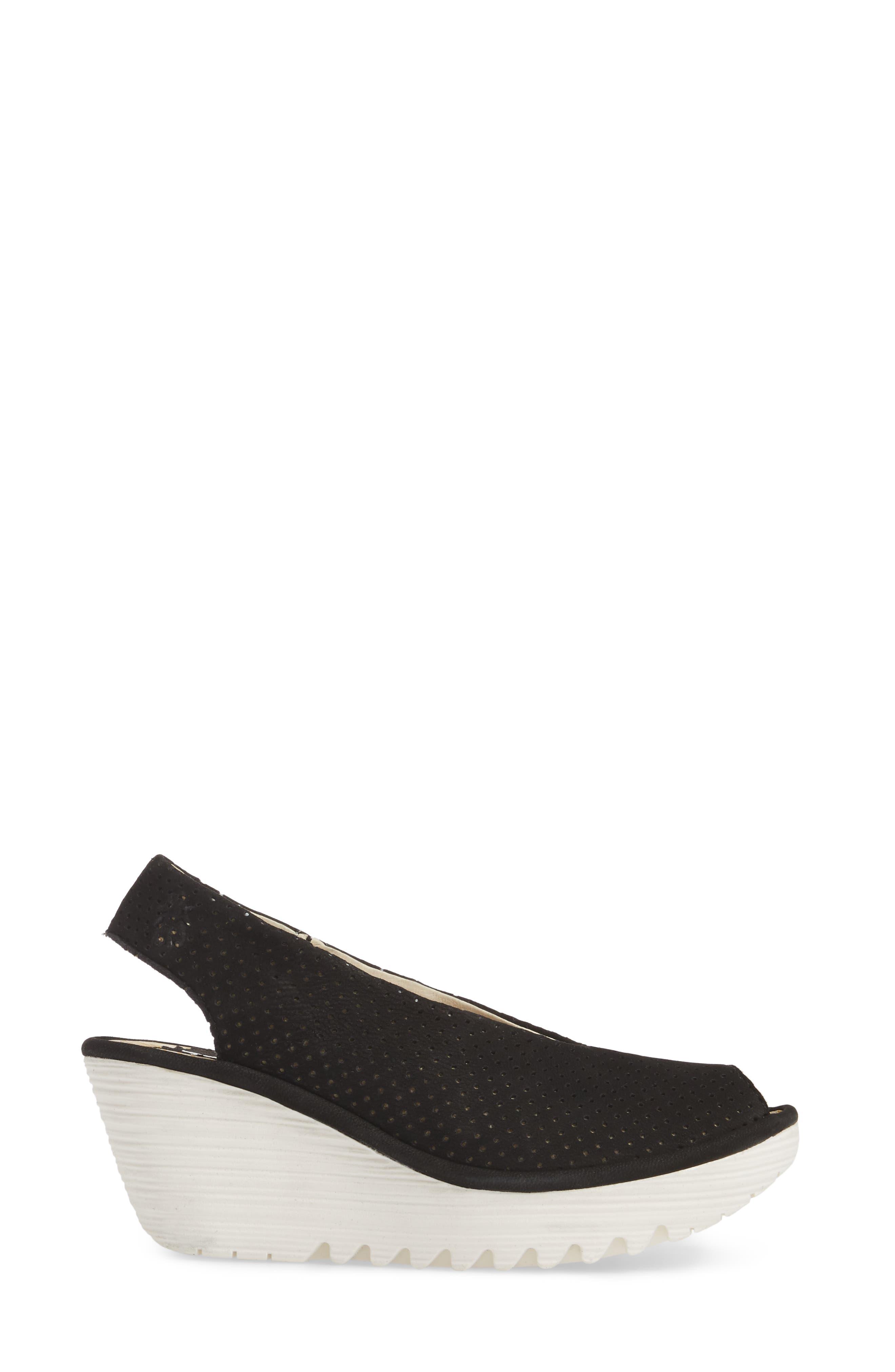 Yazu Wedge Sandal,                             Alternate thumbnail 3, color,                             BLACK/ BLACK LEATHER