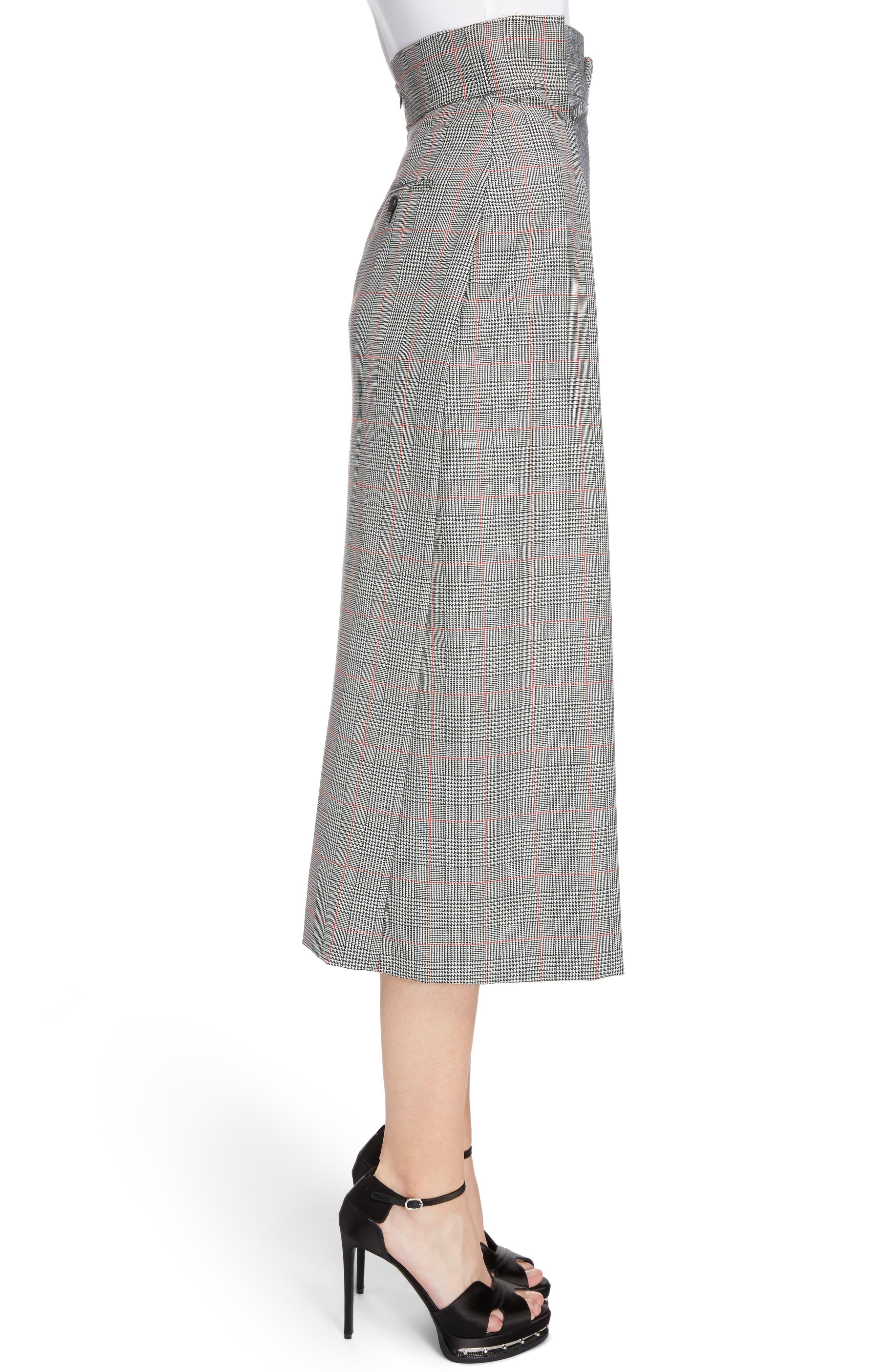 Prince of Wales Check Midi Skirt,                             Alternate thumbnail 3, color,                             086
