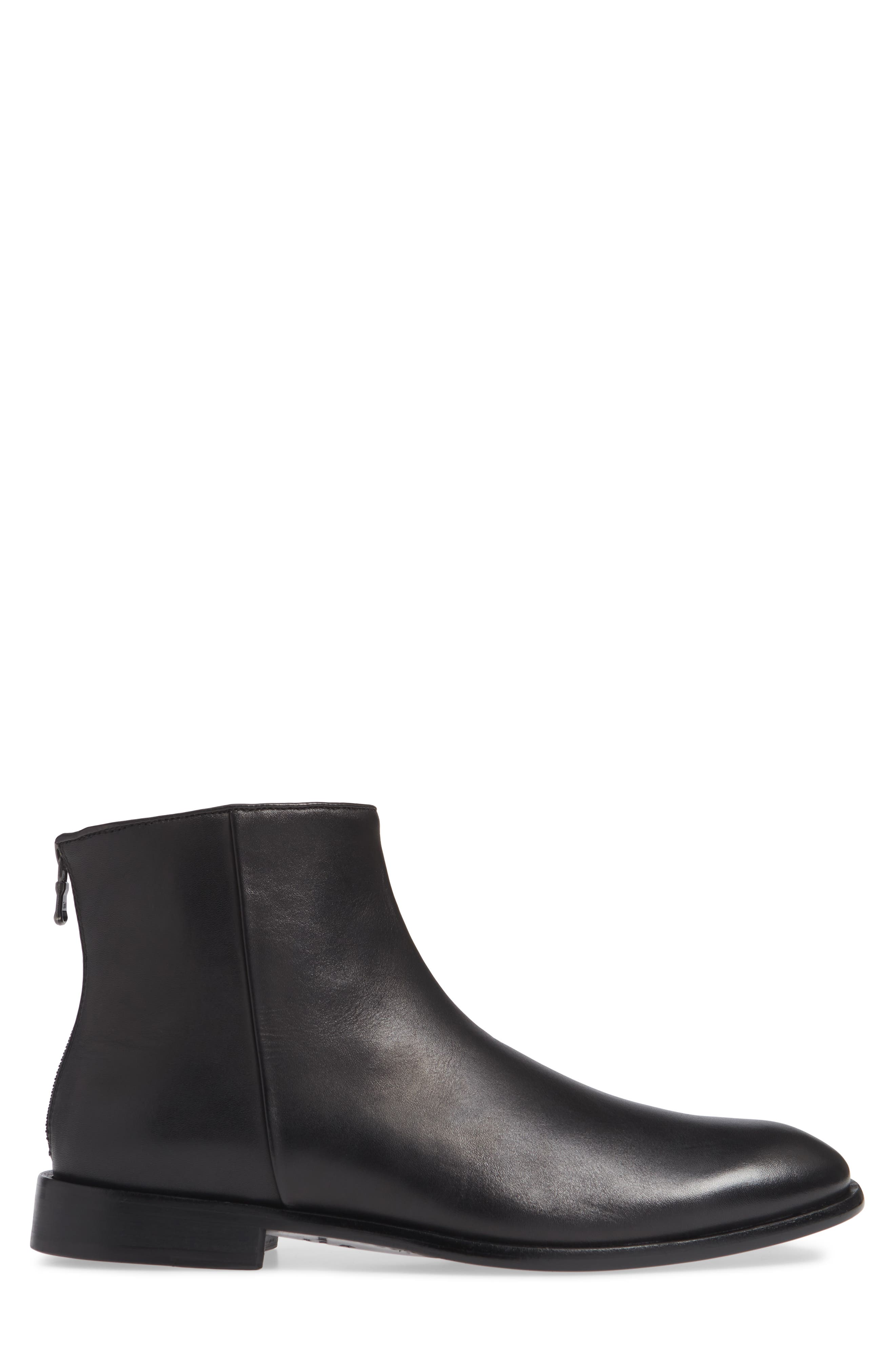 NYC Back Zip Boot,                             Alternate thumbnail 3, color,                             BLACK LEATHER