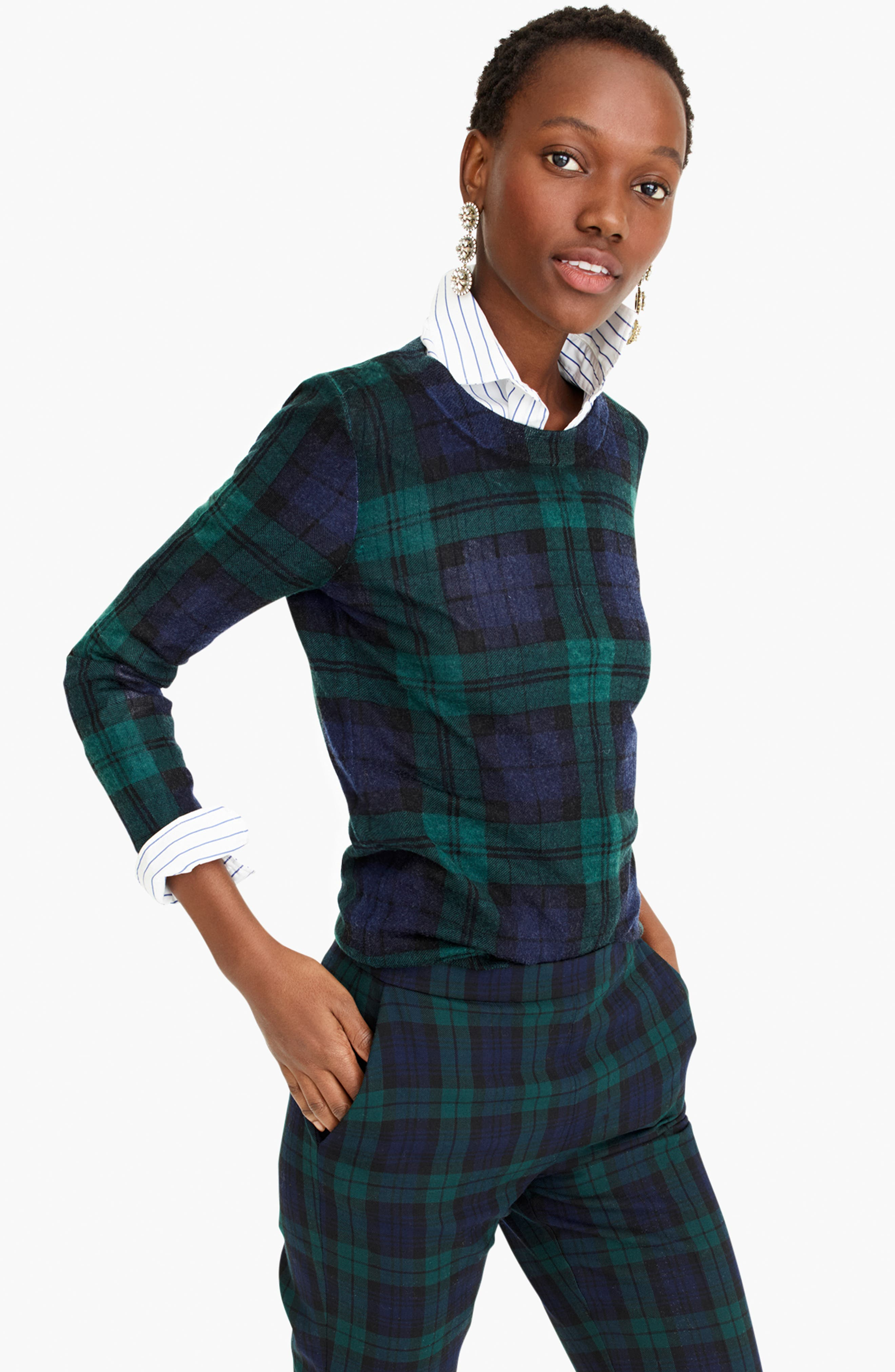 J.CREW,                             Blackwatch Plaid Tippi Sweater,                             Alternate thumbnail 6, color,                             009