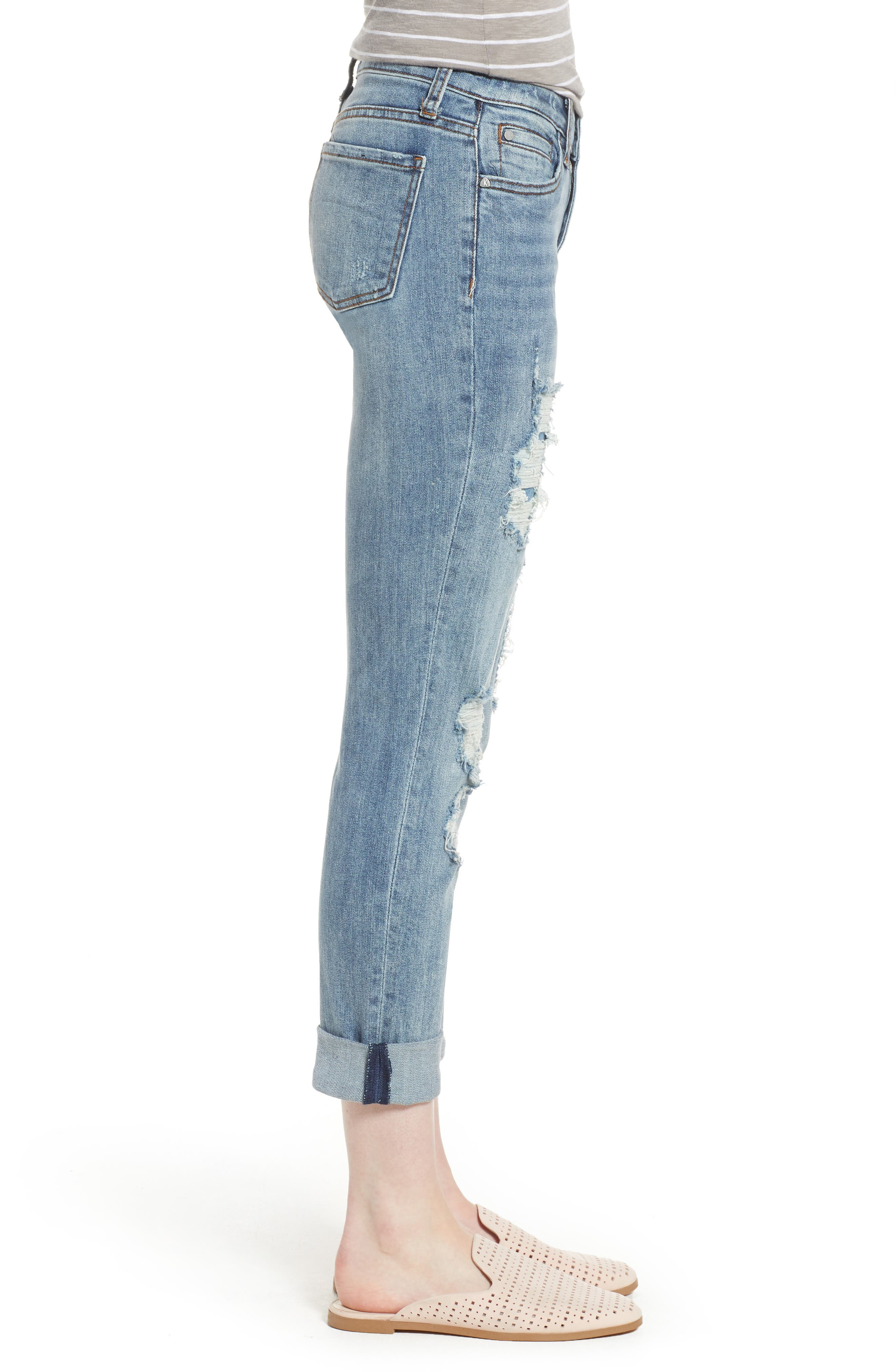KUT from the Kloth Catherine Ripped Boyfriend Jeans,                             Alternate thumbnail 3, color,