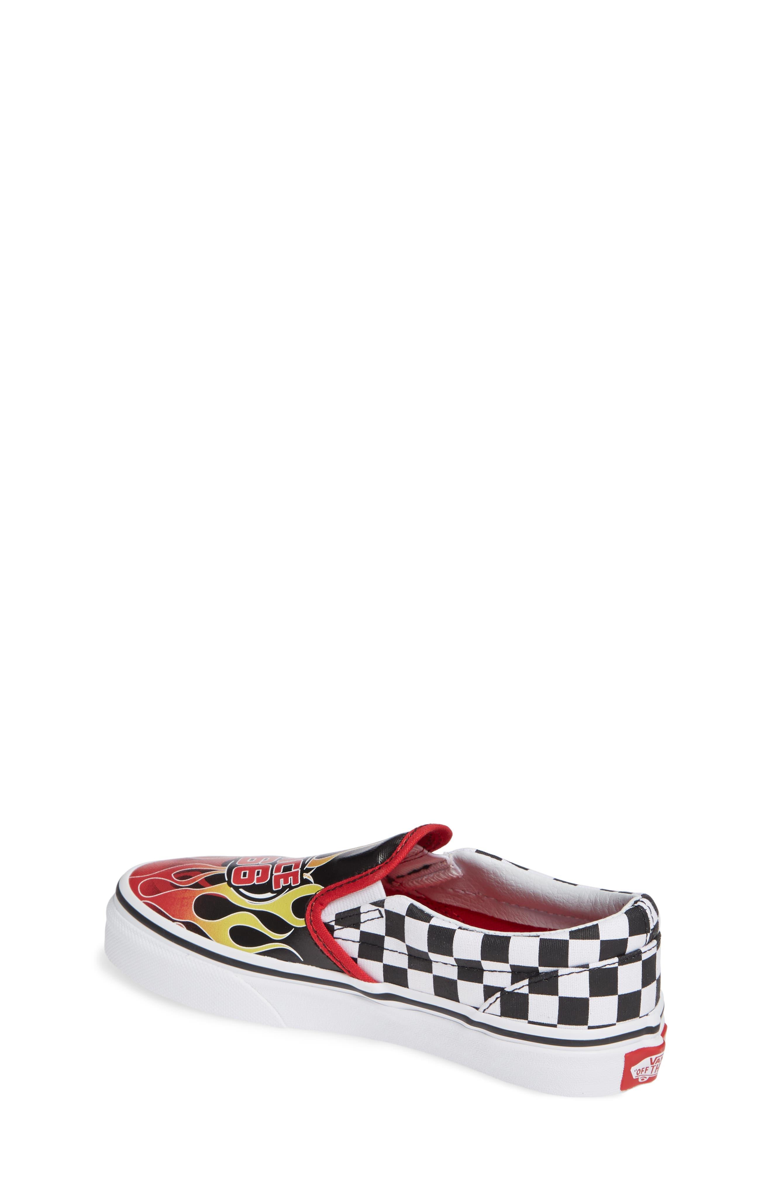 VANS,                             'Classic - Checker' Slip-On,                             Alternate thumbnail 2, color,                             BLACK/ RACING RED/ TRUE WHITE