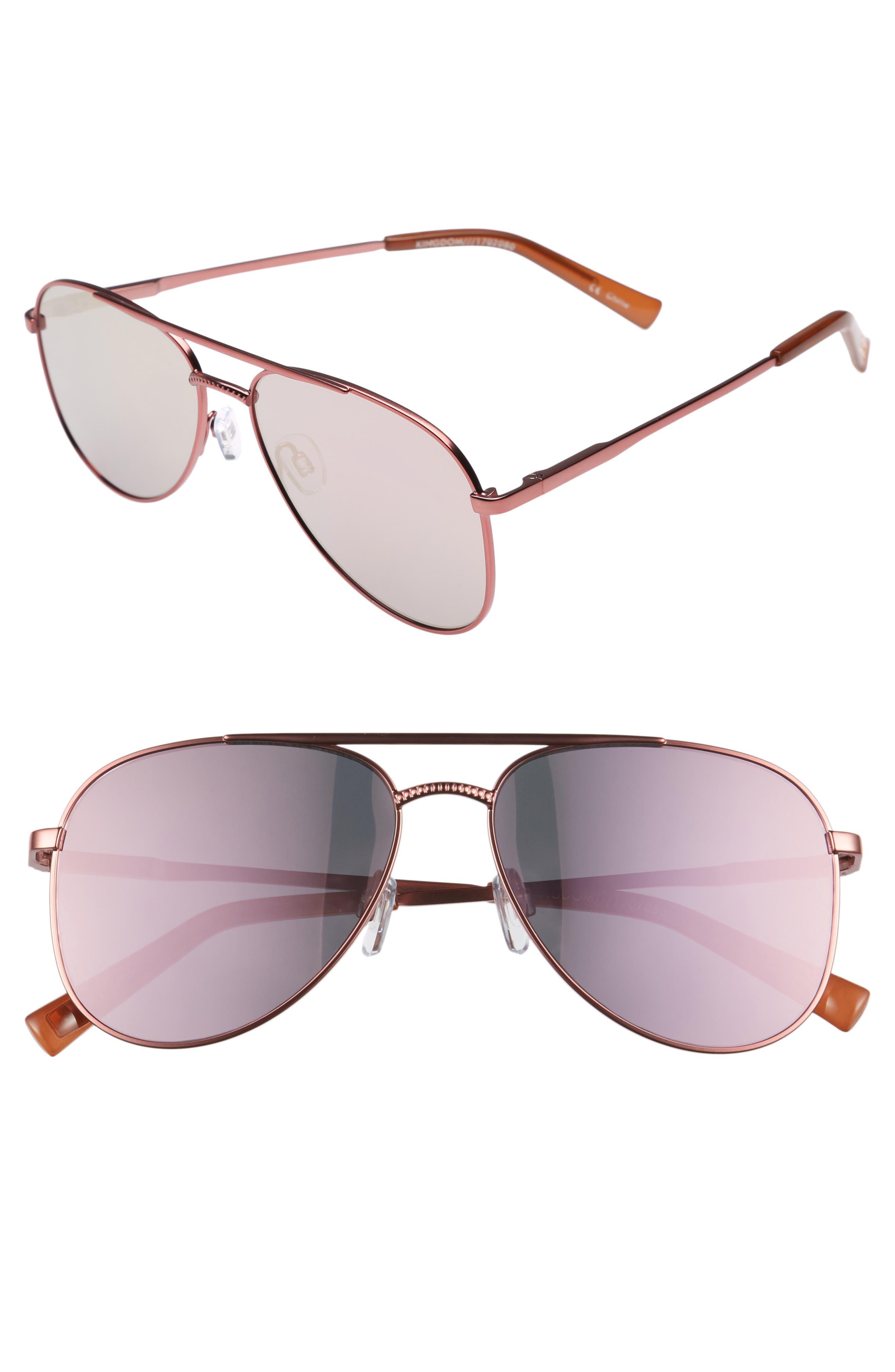 Kingdom 57mm Polarized Aviator Sunglasses,                         Main,                         color, 650