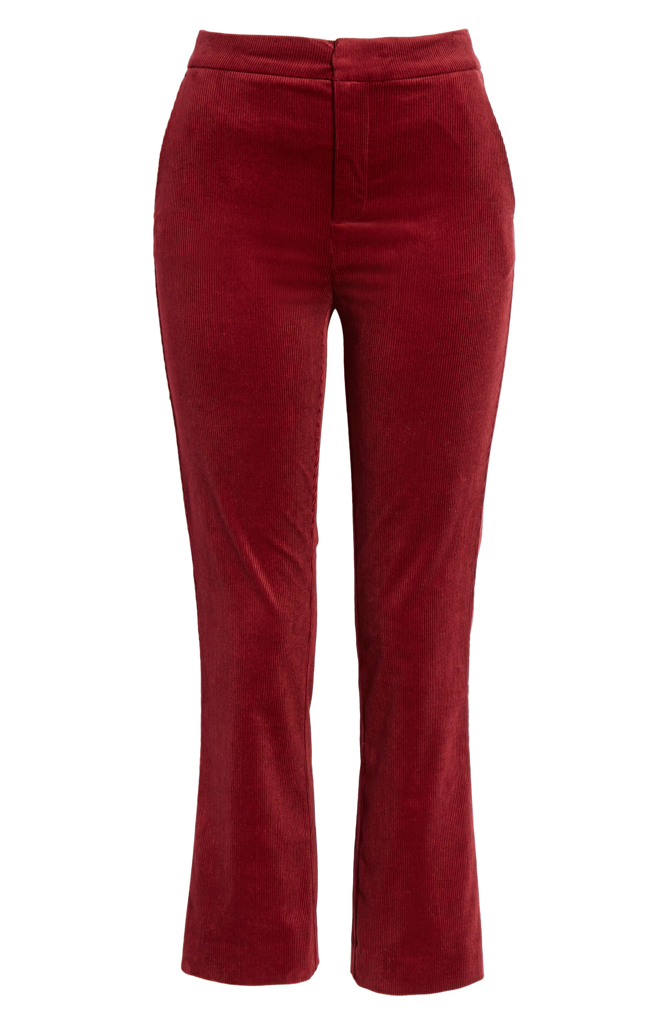 Marcena Velvet Crop Flared Pants,                             Alternate thumbnail 6, color,                             BLACKBERRY