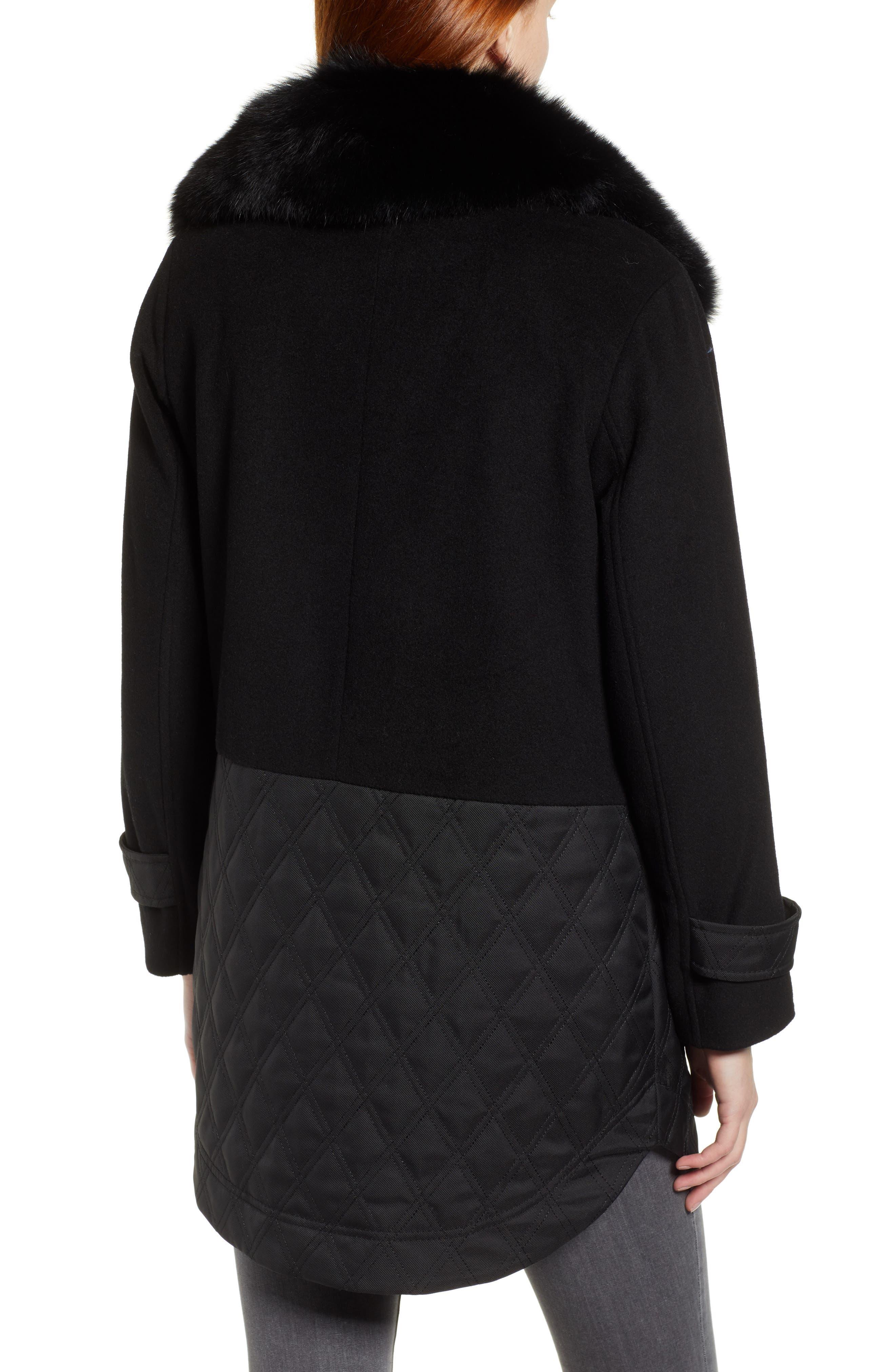 Genuine Fox Fur Trim Mixed Media Coat,                             Alternate thumbnail 2, color,                             BLACK