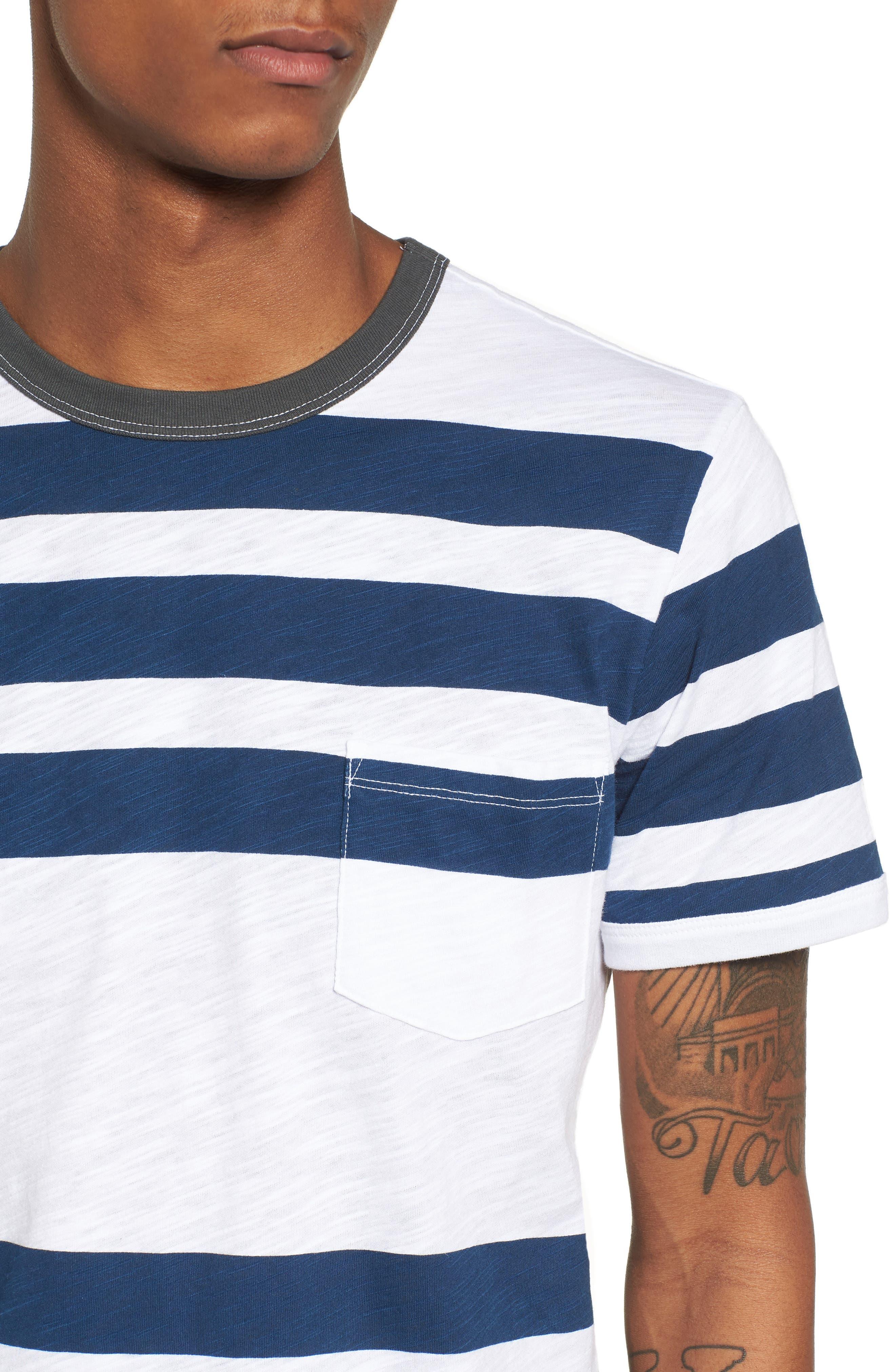Slub Stripe Ringer T-Shirt,                             Alternate thumbnail 4, color,                             420