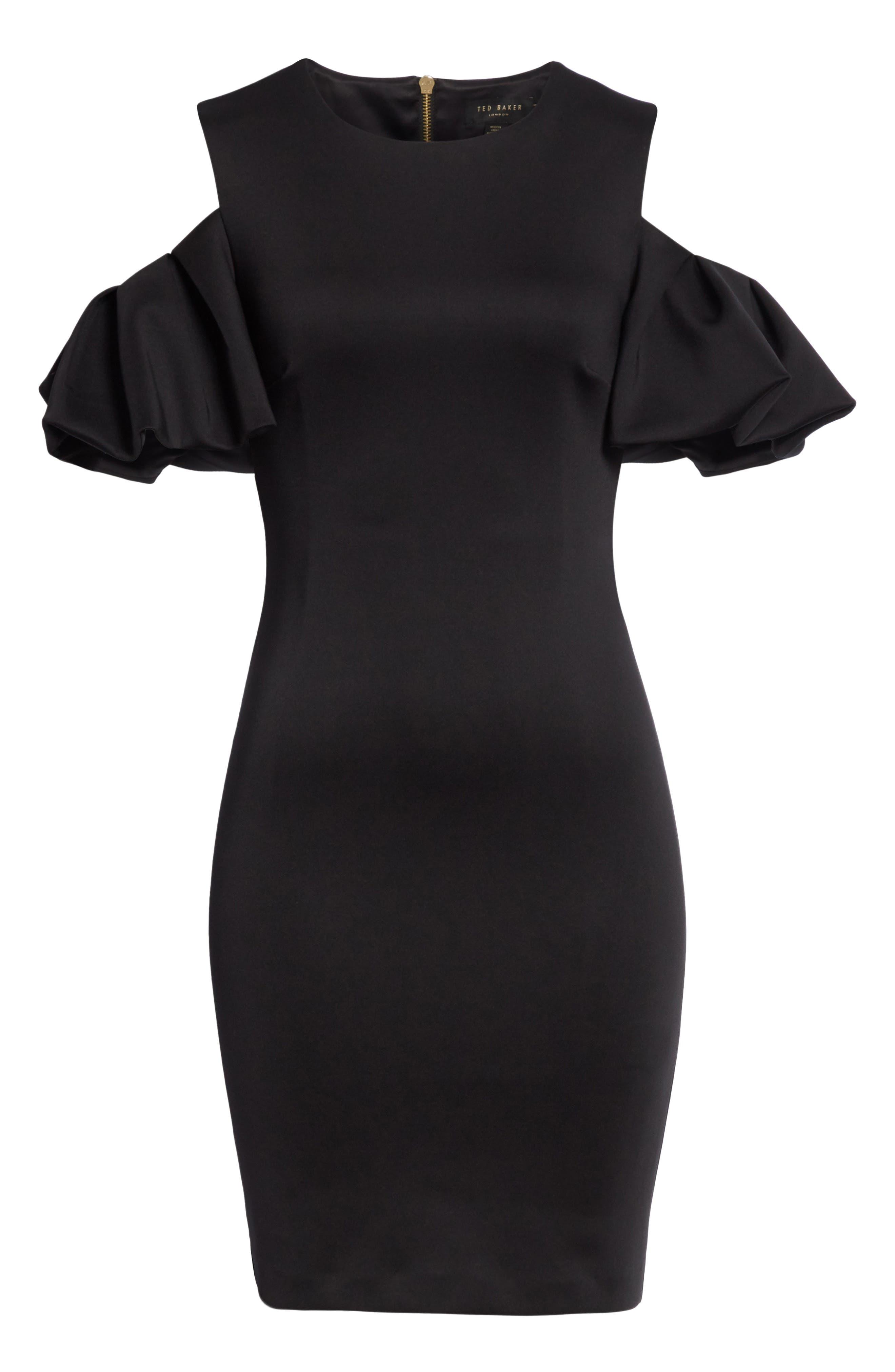 Salnie Cold Shoulder Sheath Dress,                             Alternate thumbnail 6, color,                             001