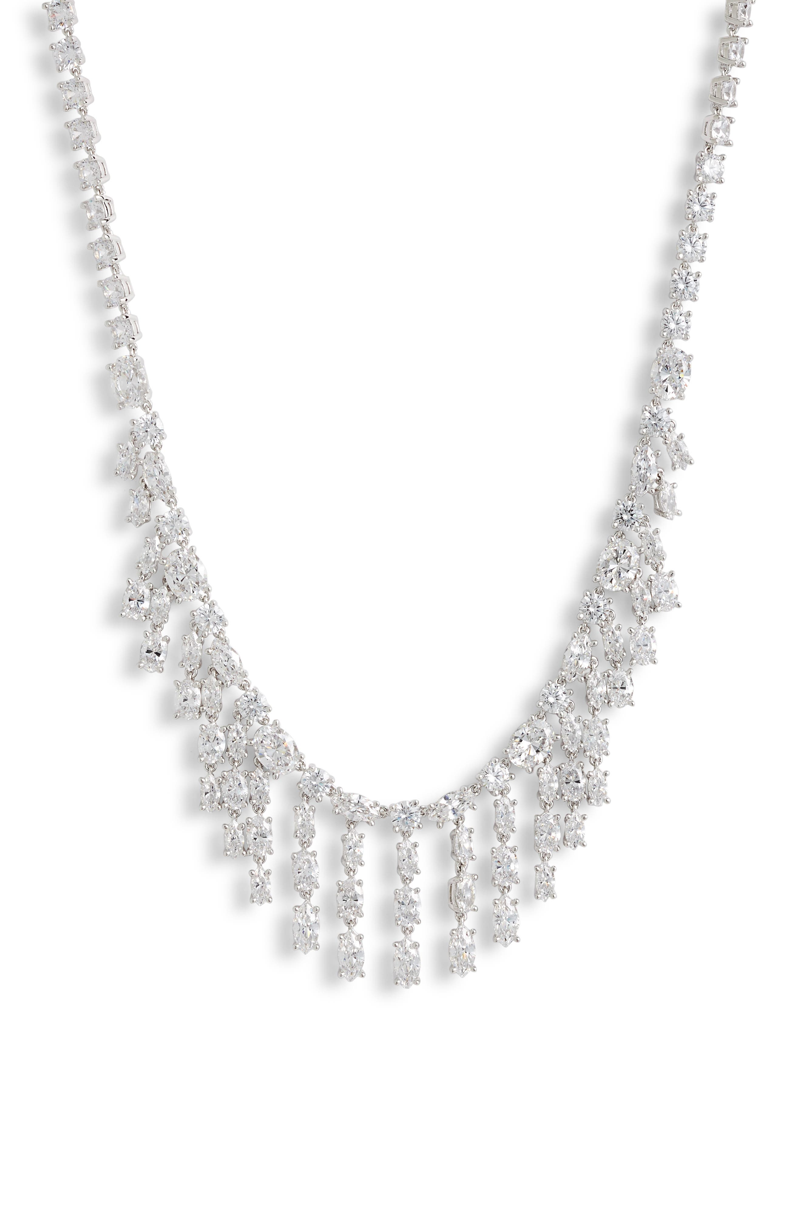 Cubic Zirconia Fringe Necklace,                         Main,                         color, CLEAR- SILVER