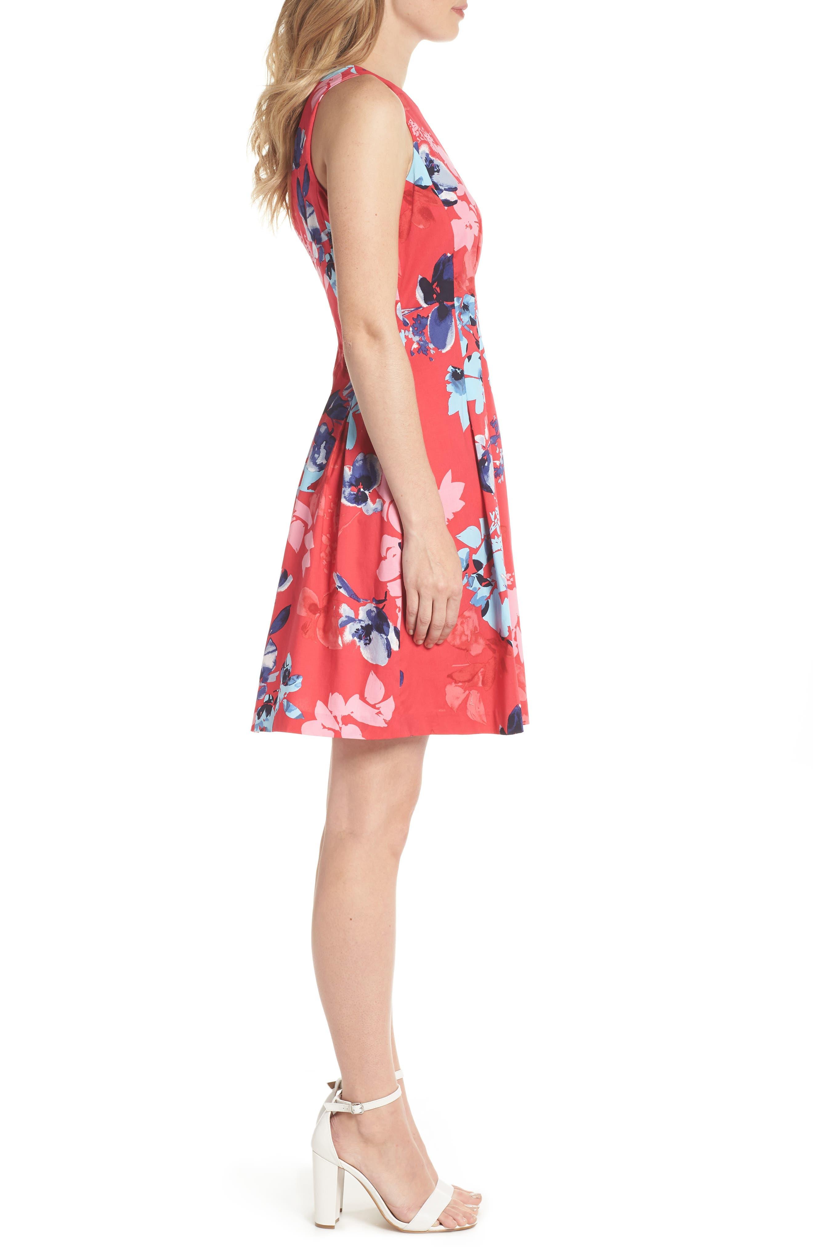 Floral Cotton Fit & Flare Dress,                             Alternate thumbnail 3, color,                             653