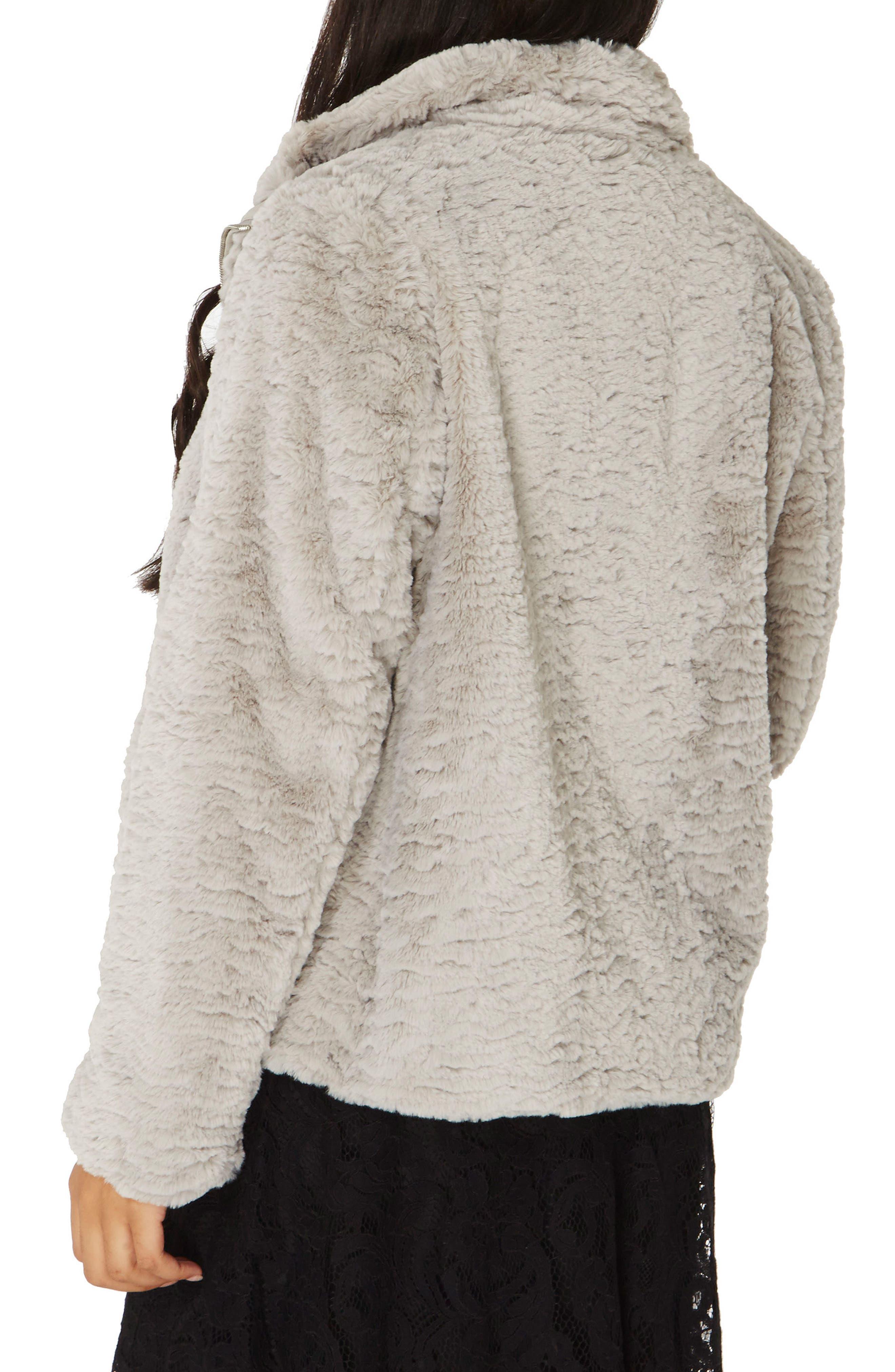 Faux Fur Funnel Collar Jacket,                             Alternate thumbnail 2, color,                             040