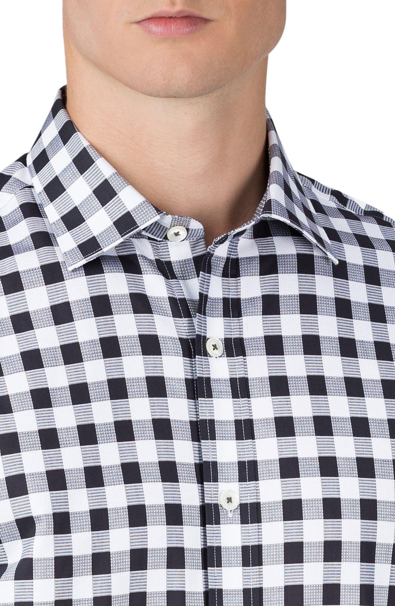 Shaped Fit Check Sport Shirt,                             Alternate thumbnail 3, color,                             001