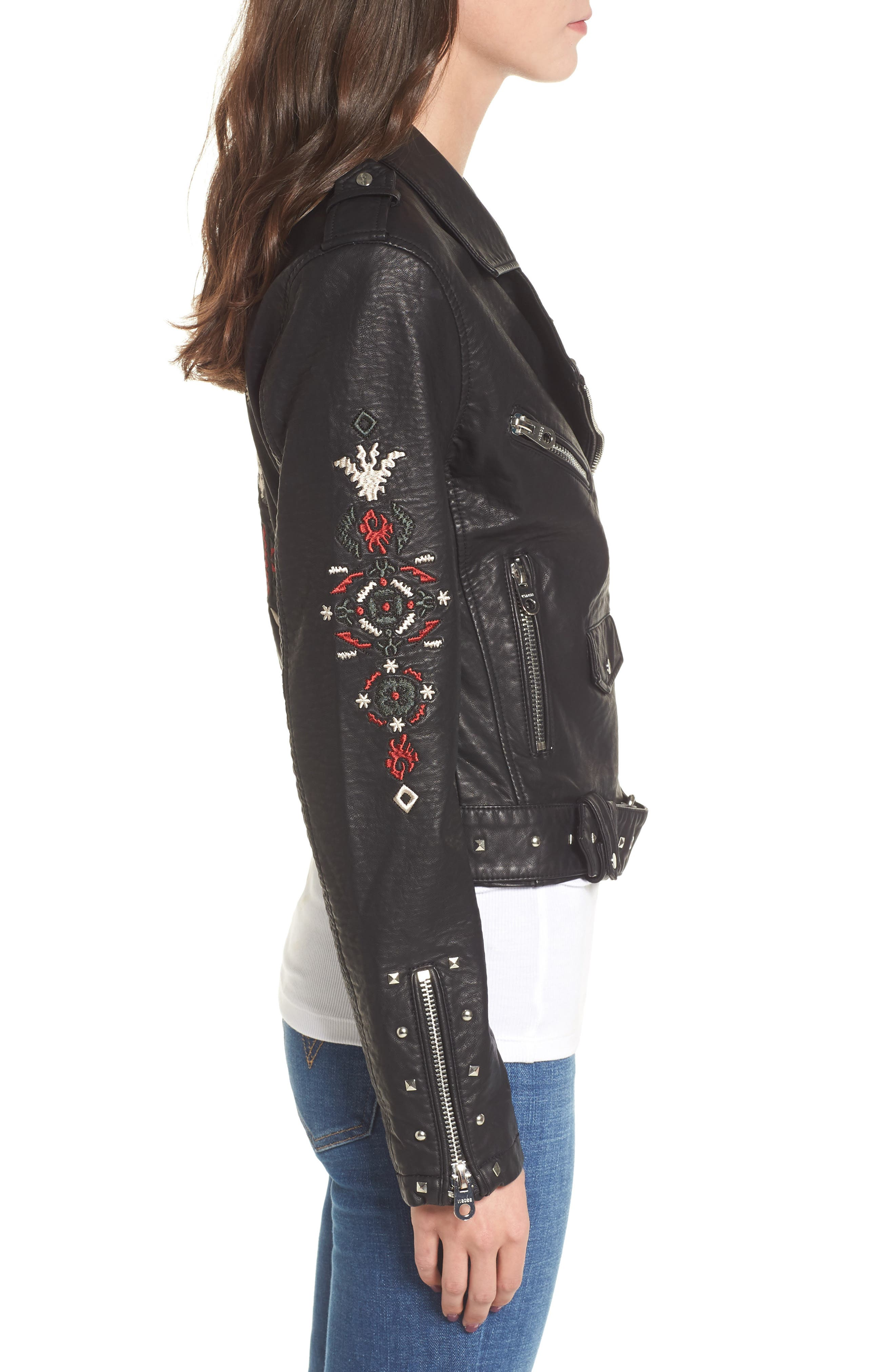 Studded & Embroidered Faux Leather Moto Jacket,                             Alternate thumbnail 3, color,                             001